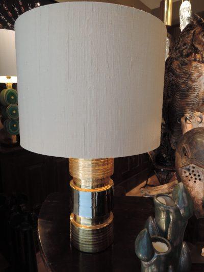 PAIRE DE LAMPES EN CERAMIQUE EMAIL OR GRIFFE + 1 BANDE PLATINE  PAR BERGBOMS – SUEDE CA,1960