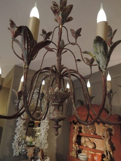 FRENCH HANGING CHANDELIER IN METAL WITH GREY&RED PATINA CA.1890
