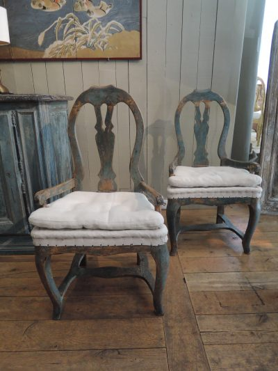 PAIR OF BAROQUE SWEDISH ARMCHAIRS WITH BLUE PATINA CA.1800