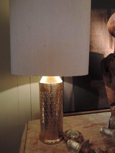 Paire de lampes en céramique incisée + or par BITOSSI pour BERGBOMS Ca.1960