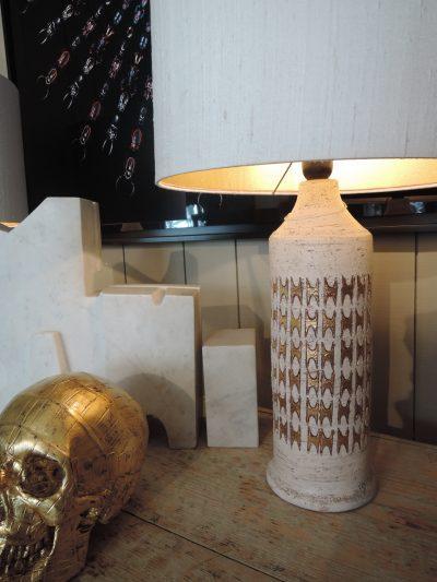 PAIRE DE LAMPES EN CERAMIQUE INCISE + EMAILLEE PAR BITOSSI POUR BERGBOMS CA,1960