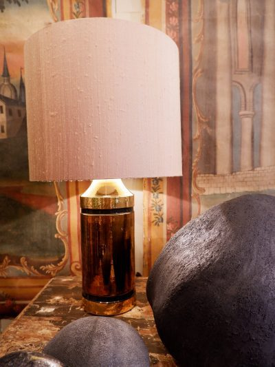 PAIR OF CERAMIC TABLE LAMPS WITH COPPER GLAZED BY BERGBOMS CA.1960
