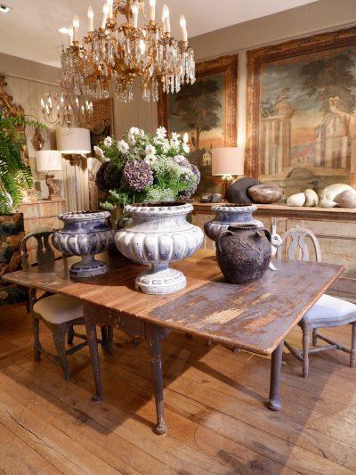 TABLE GETLEG EPOQUE BAROQUE SUEDOISE XVIII  PATINE BLEU DE PRUSSE