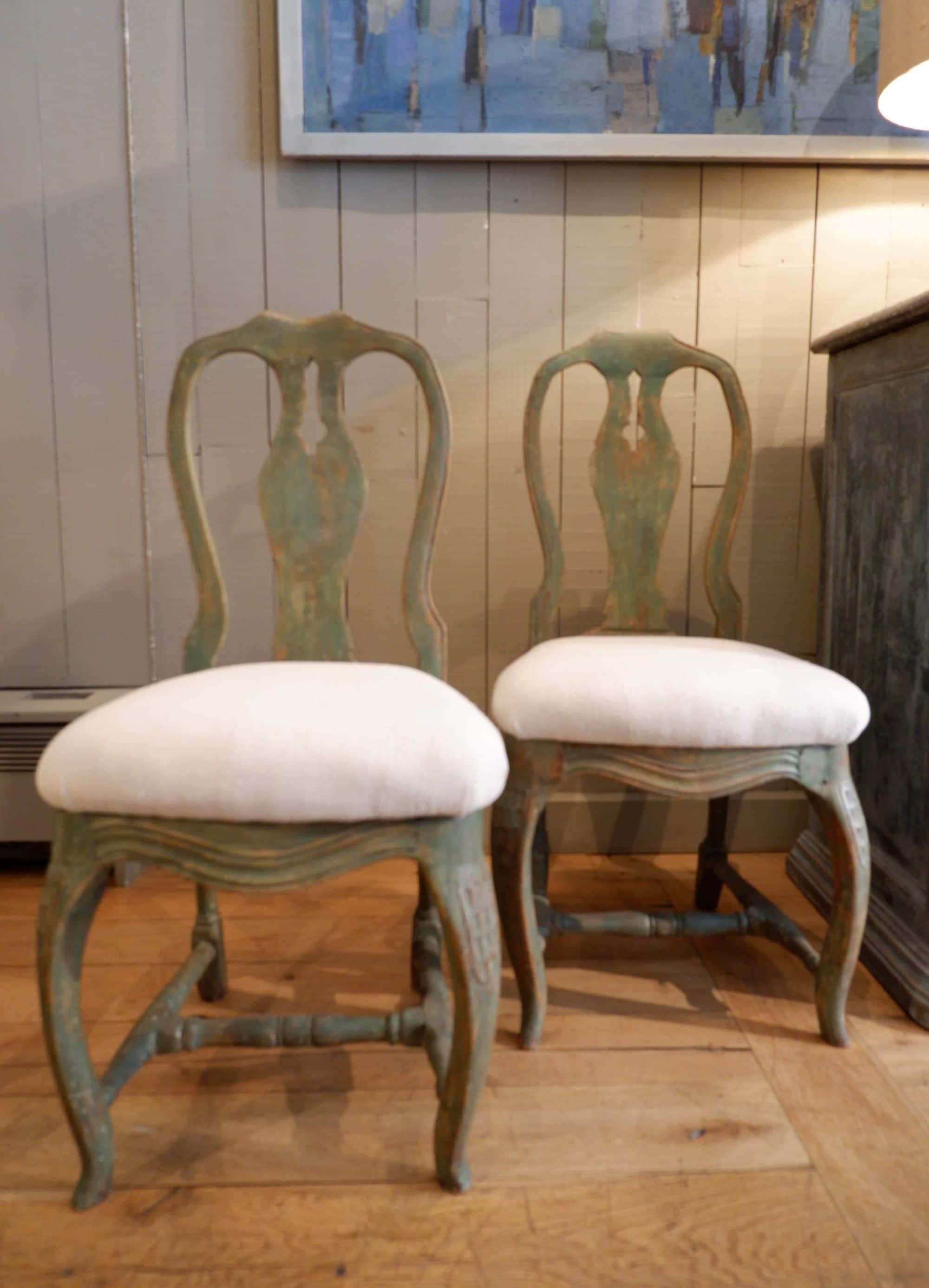 paire de chaises suedoises patine vert vif ca1890 - Chaises Suedoises