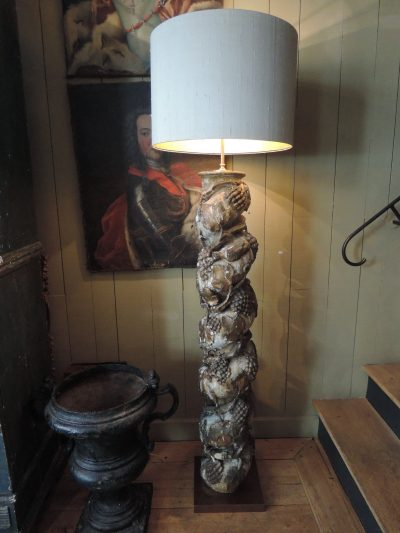PAIR OF FLOORLAMPS WITH XVIIIth CENTURY CARVED WOOD TWISTED COLUMNS  WITH GRAPES & BIRDS