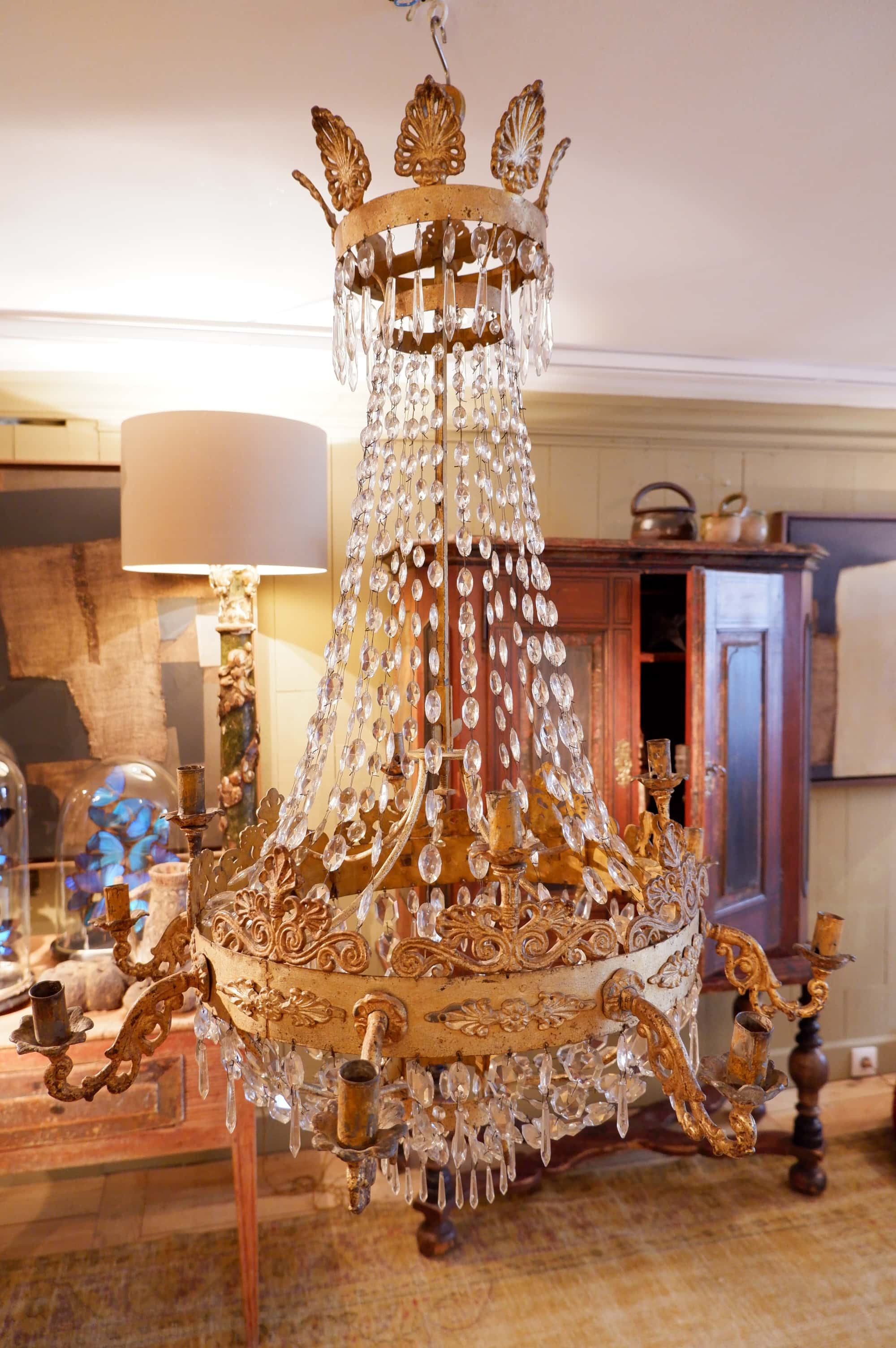 Gilt bronze Regency chandelier with fall of cut glass cabochons late nineteenth century