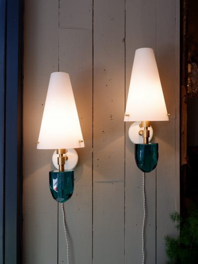 PAIR OF TALL LAMPS WITH GREEN COLUMNS & GOLD LEAVES XVIIITH + SILK CYLINDER SHADES
