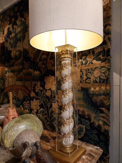 PAIRE DE LAMPES COLONNES GRISES & PLEXIGLAS + AJ CYLINDRES