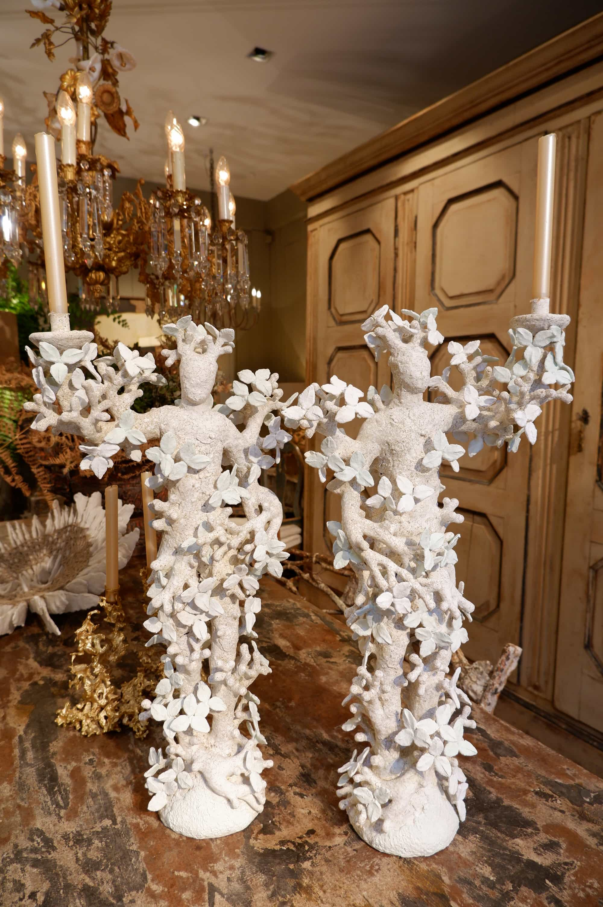 PAIR OF LEAVES CANDELABRA BY EDOUARD CHEVALIER