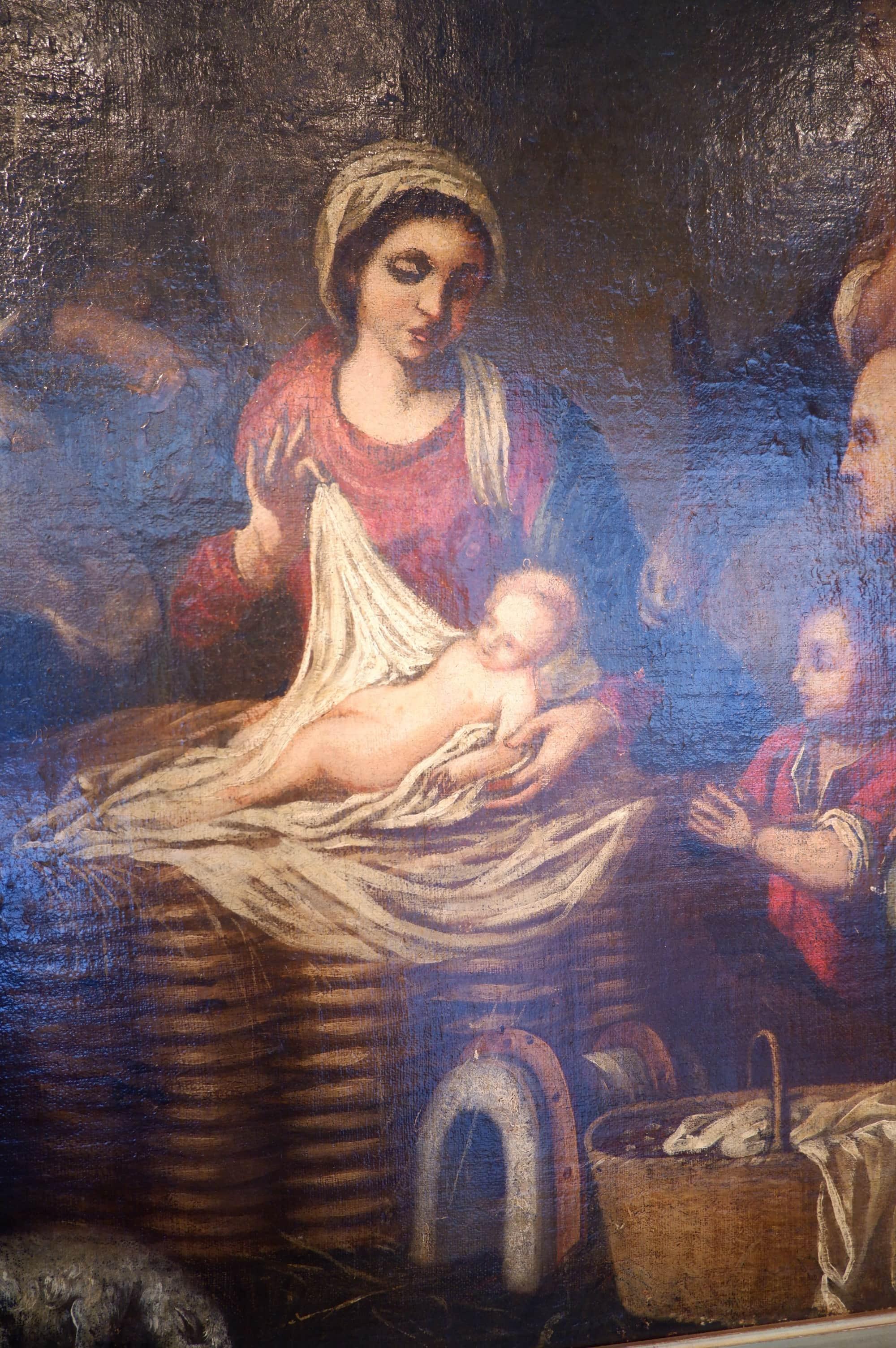"""Huile sur toile """"scéne de la nativité"""" école italienne XVIIe"""