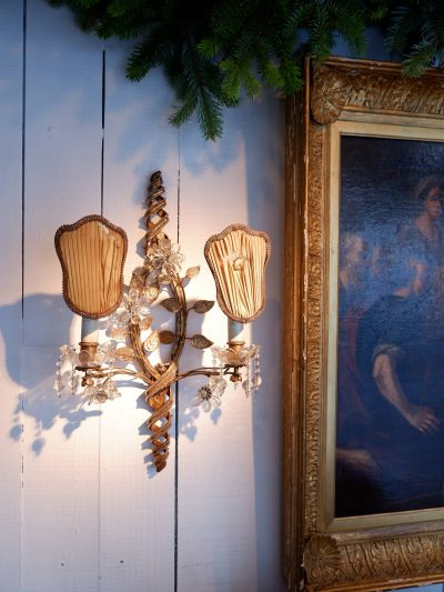 PAIR OF MAISON BAGUES WALL SCONCES IN BRONZE AND GLASS CA,1930