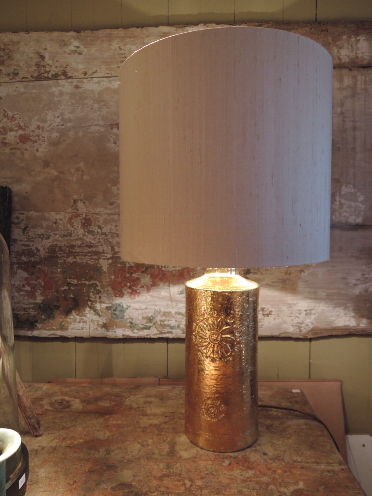 Gilded enamelled ceramic lamp with flower motif by Bergboms- Sweden 1960