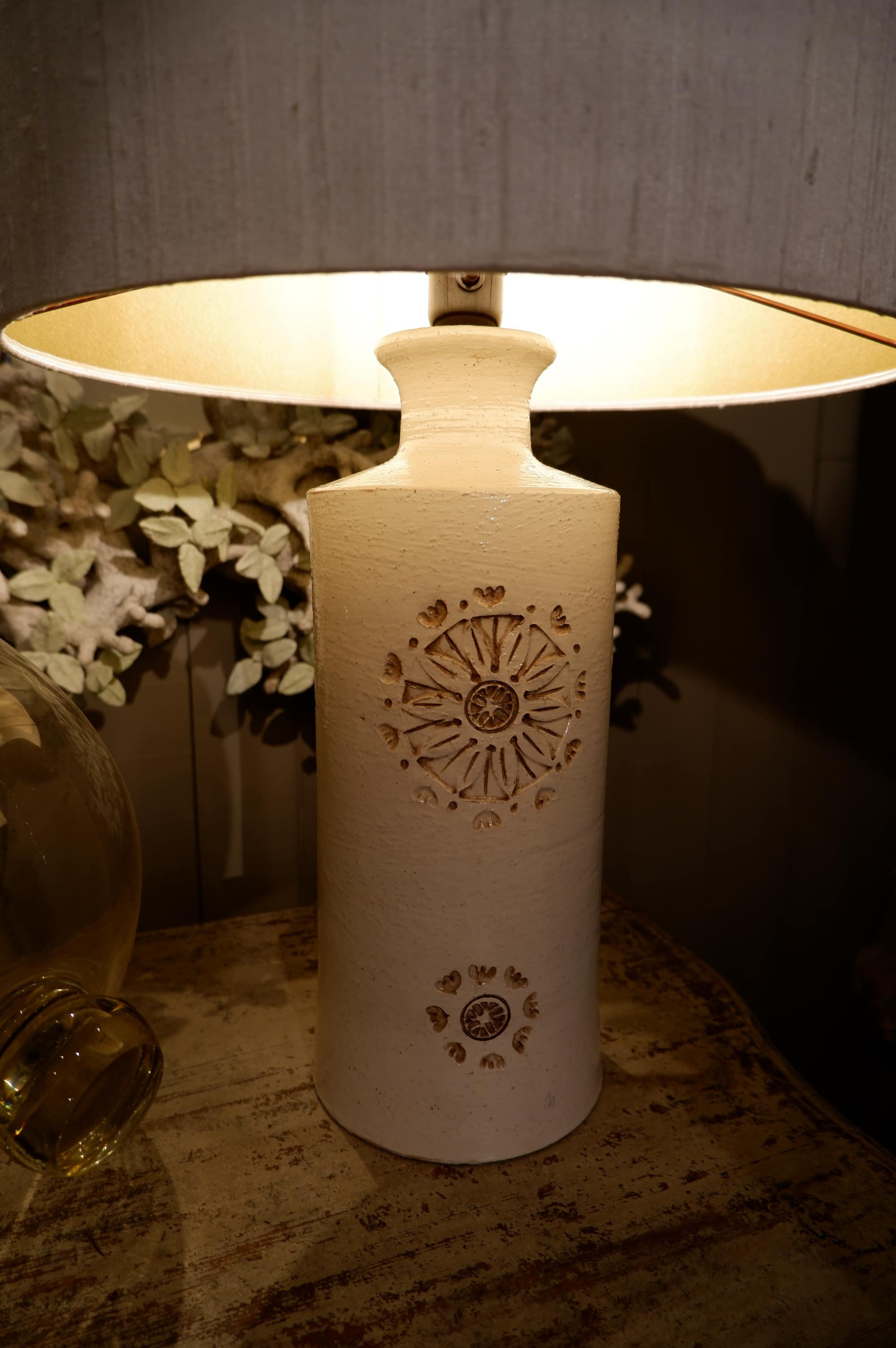 Off- white ceramic table lampe with flower pattern by Bergboms-Sweden 1960