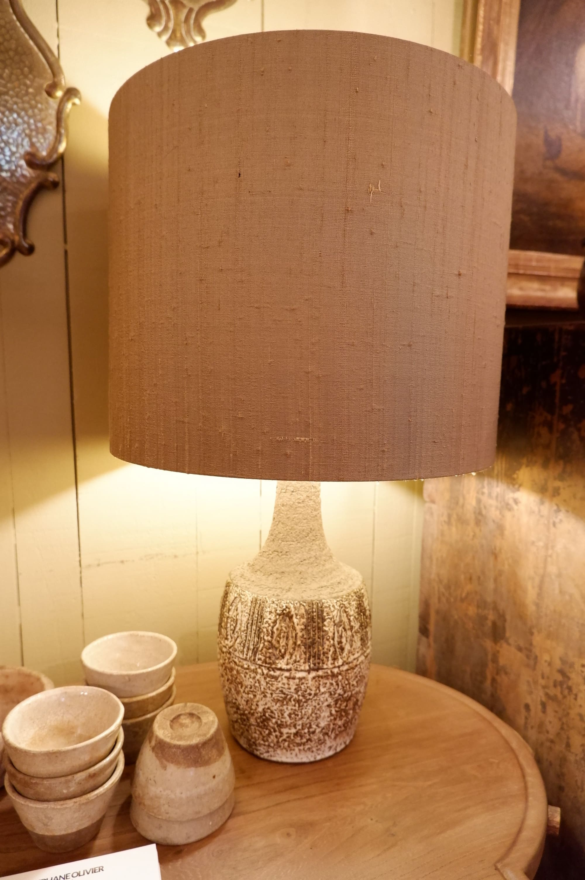 Brown and white ceramic table lamp – Denmark 1960