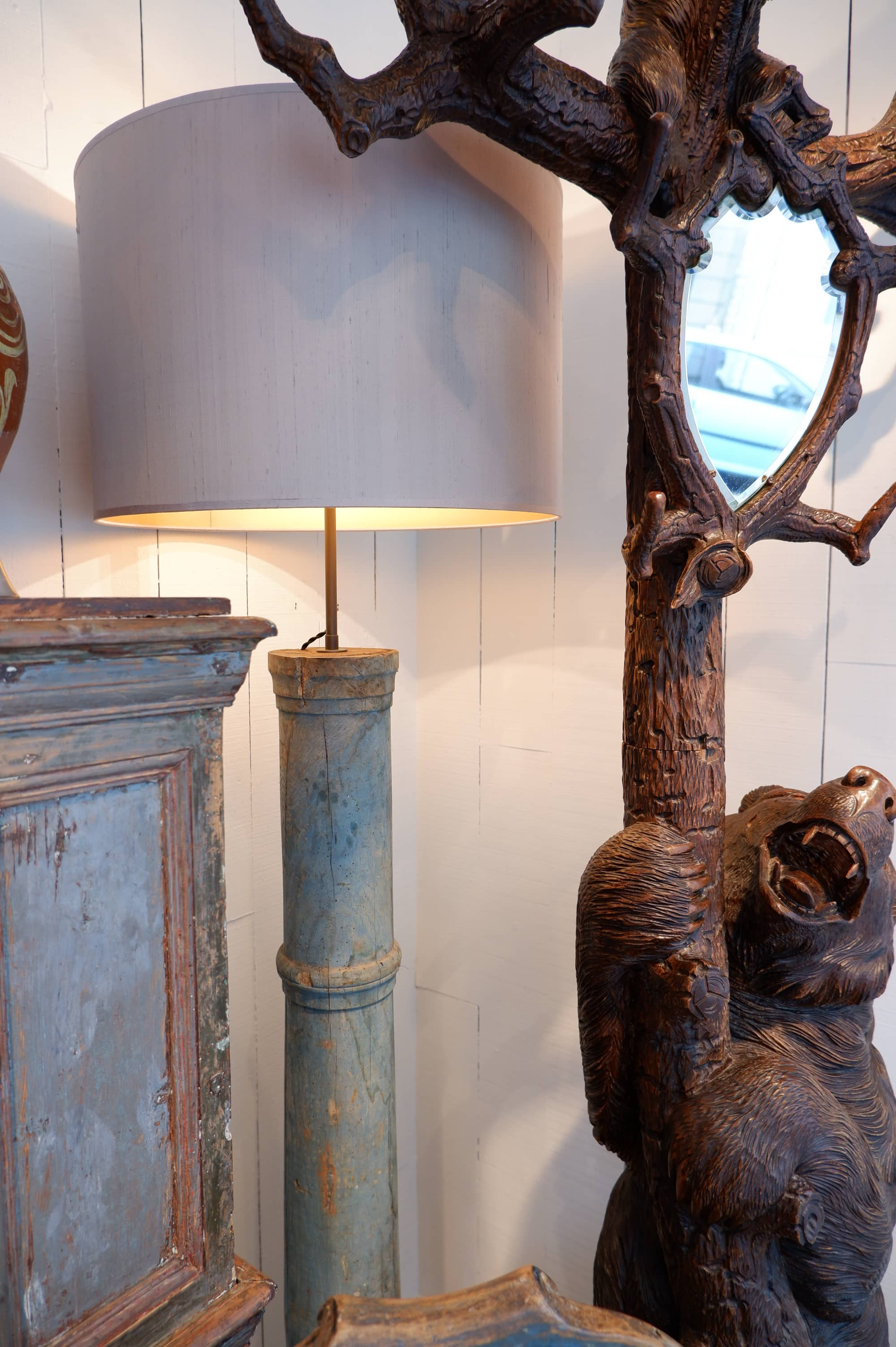 Pair of floorlamps made with pale blue gustavian wooden columns + silk cylinder shades