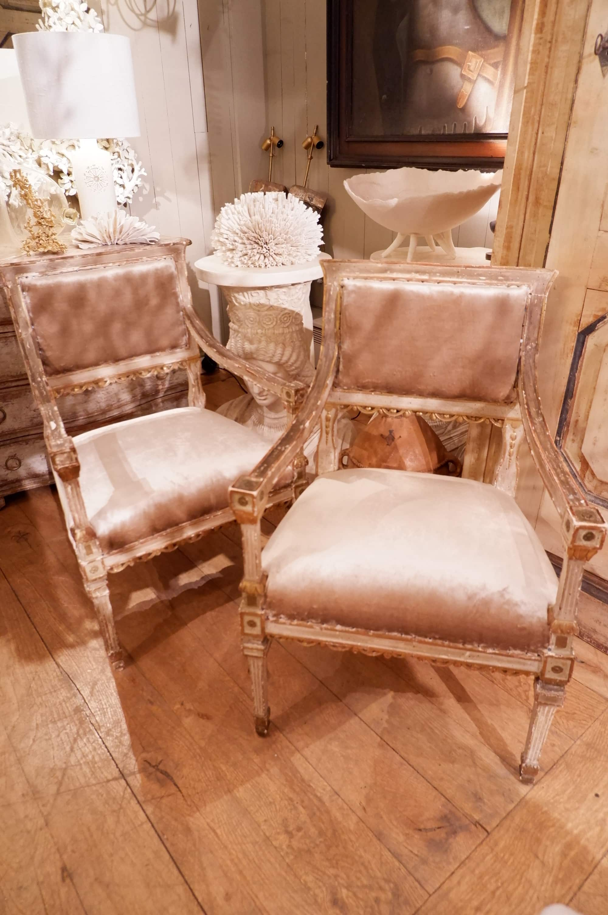 Pair of Italian armchairs with flat backrest Patina Bronze green 18th