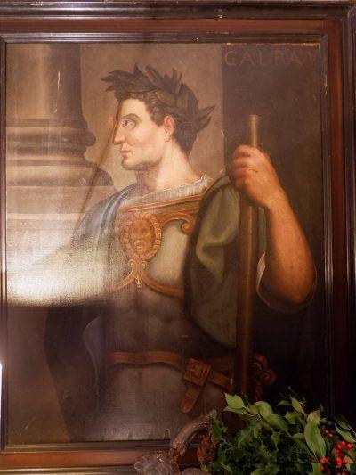 Grand portait de l'empereur Galba V, huile sur toile fin XVIIe