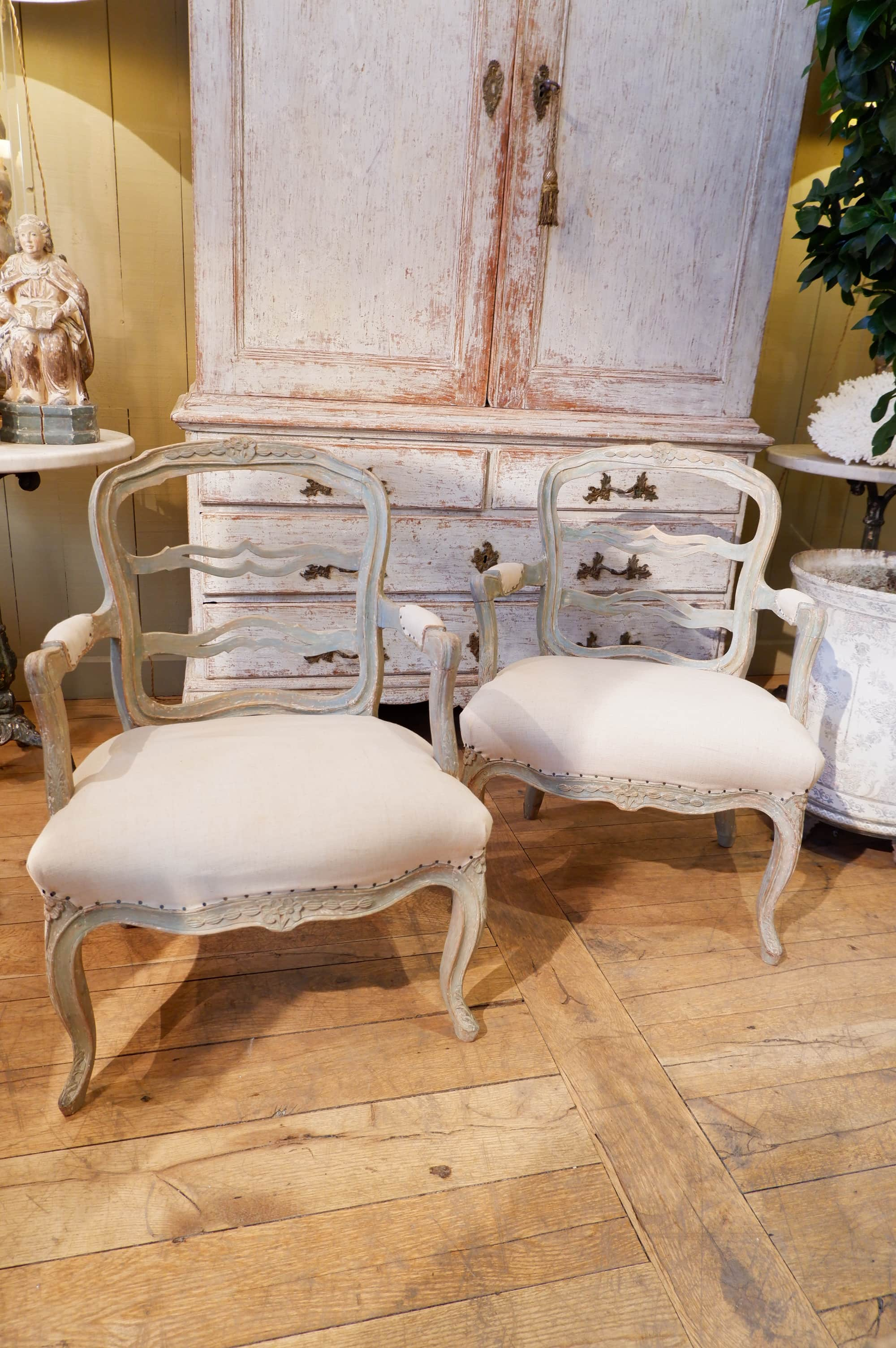 Pair of French armchairs Louis XVI pale green patina ca. 1780