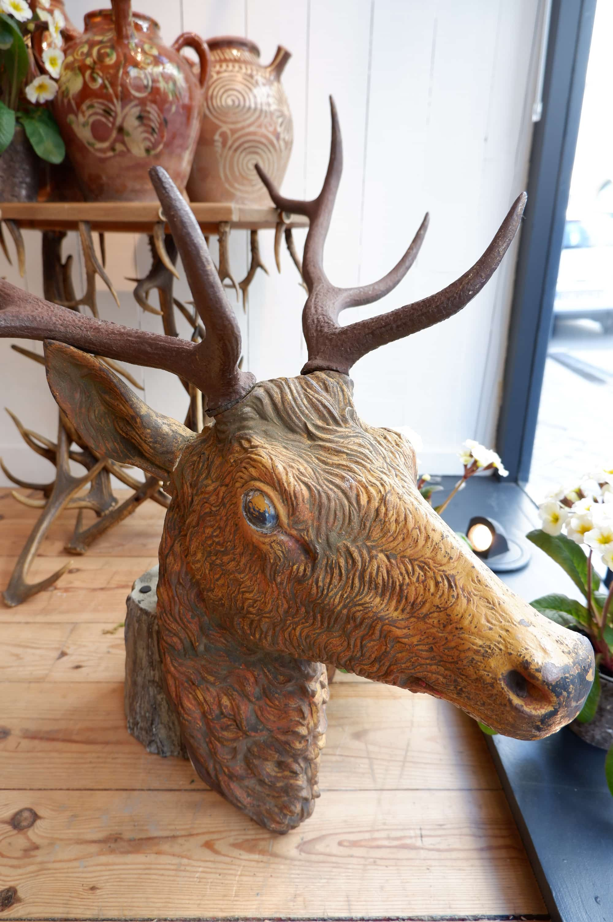 Large cast iron deer head Nineteenth century