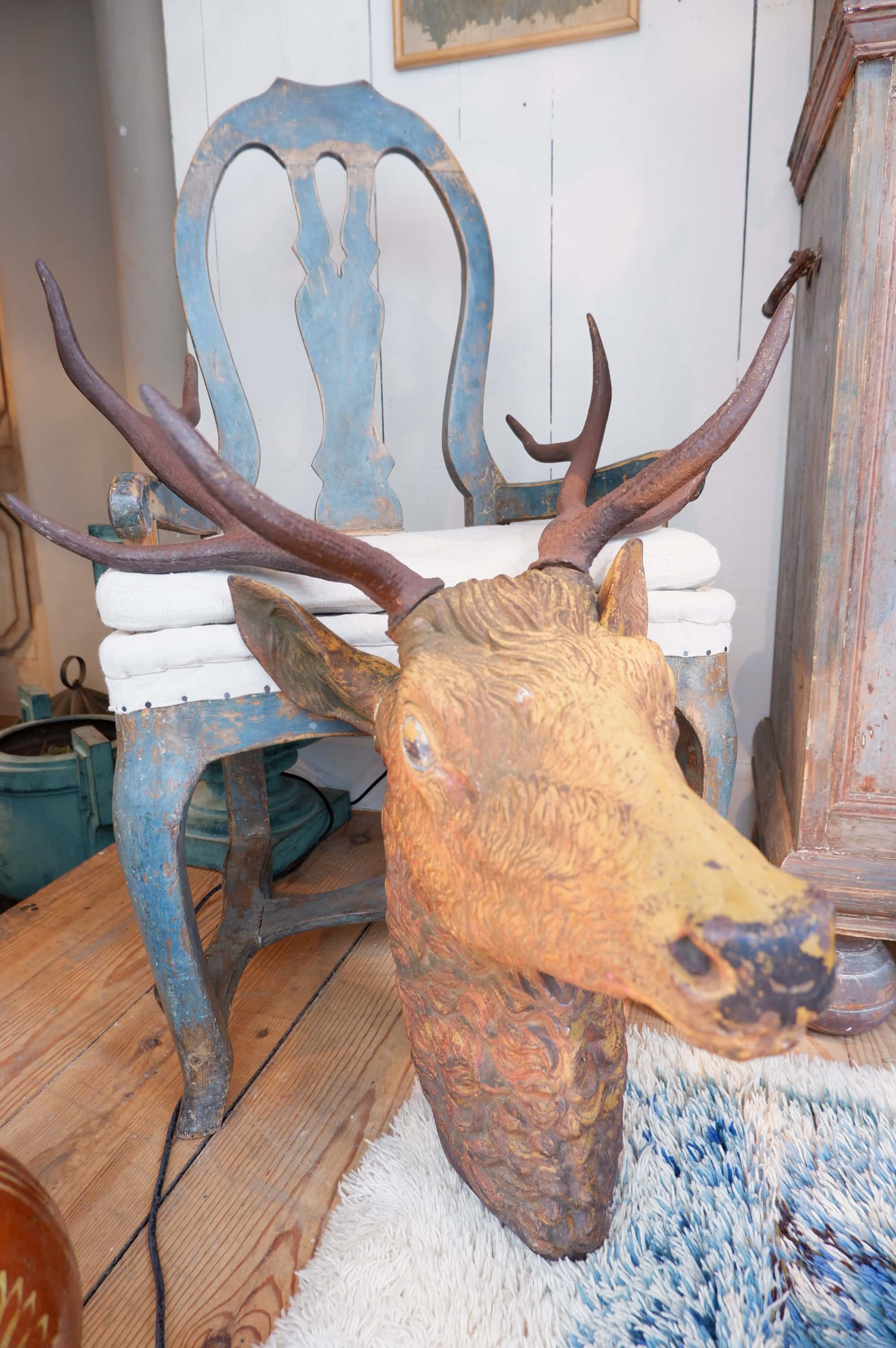 Grande tête de cerf en fonte de fer XIXe