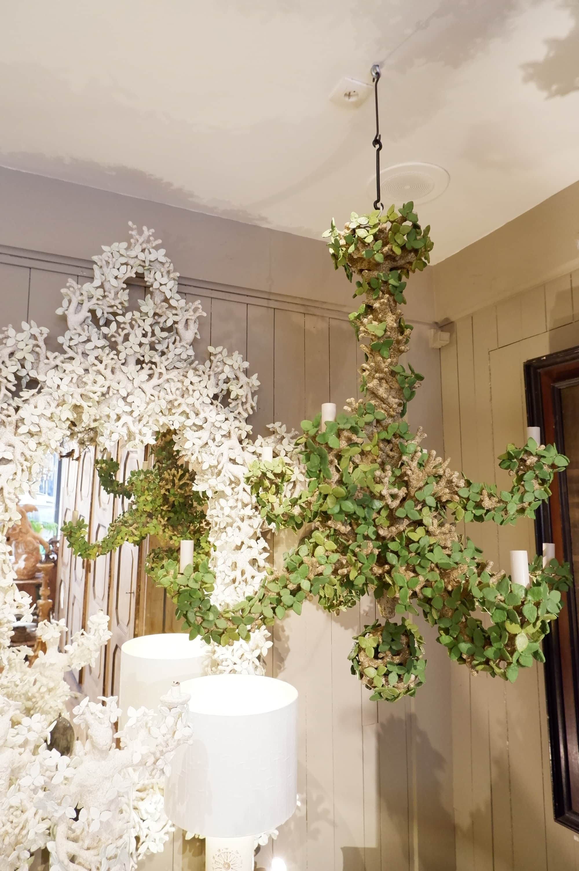 """""""green leaves"""" chandelier with 8 arms, by Edouard Chevalier"""