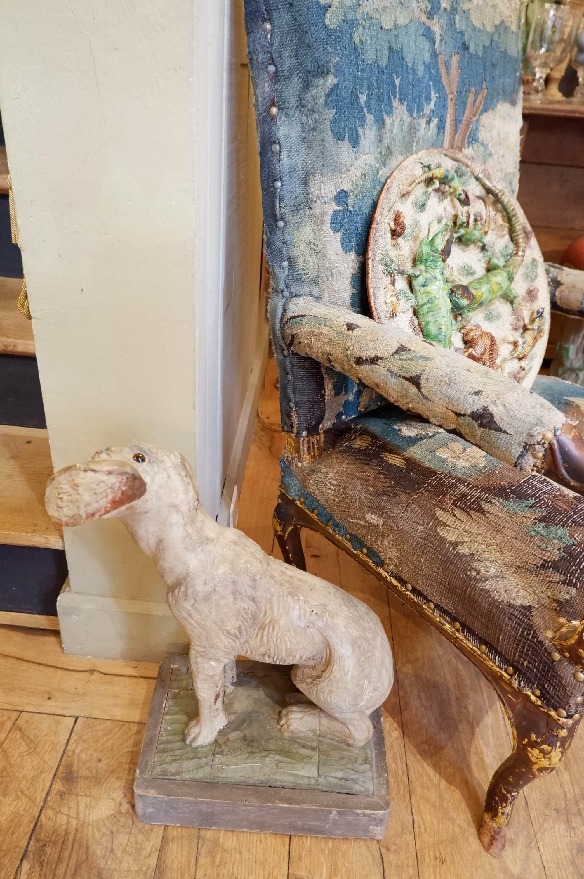 Statue du chien de St-Roch en bois sculpté polychrome XIXe
