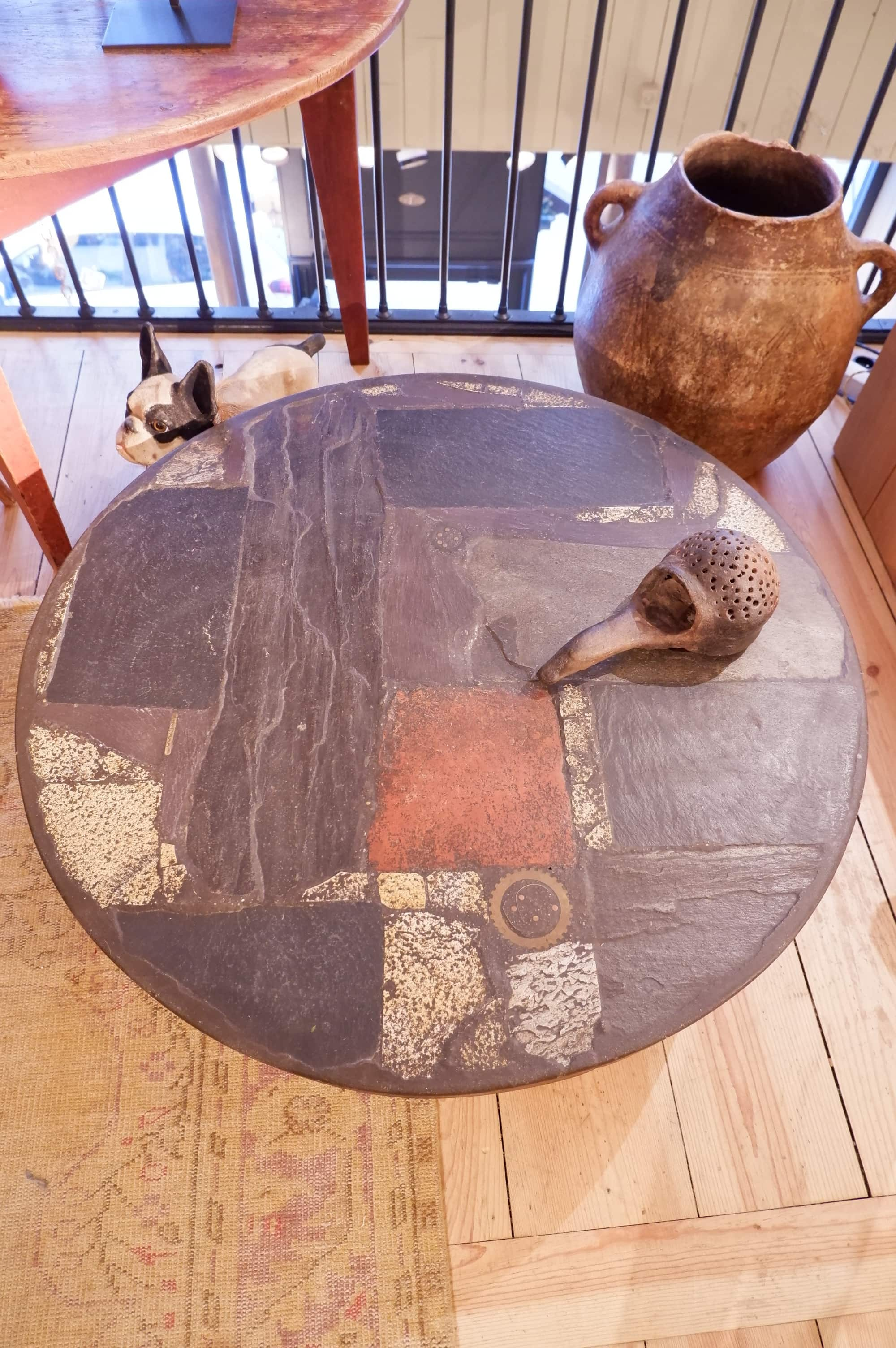 "Table basse ""paysage"" ronde par Paul Kingma ca.1970"