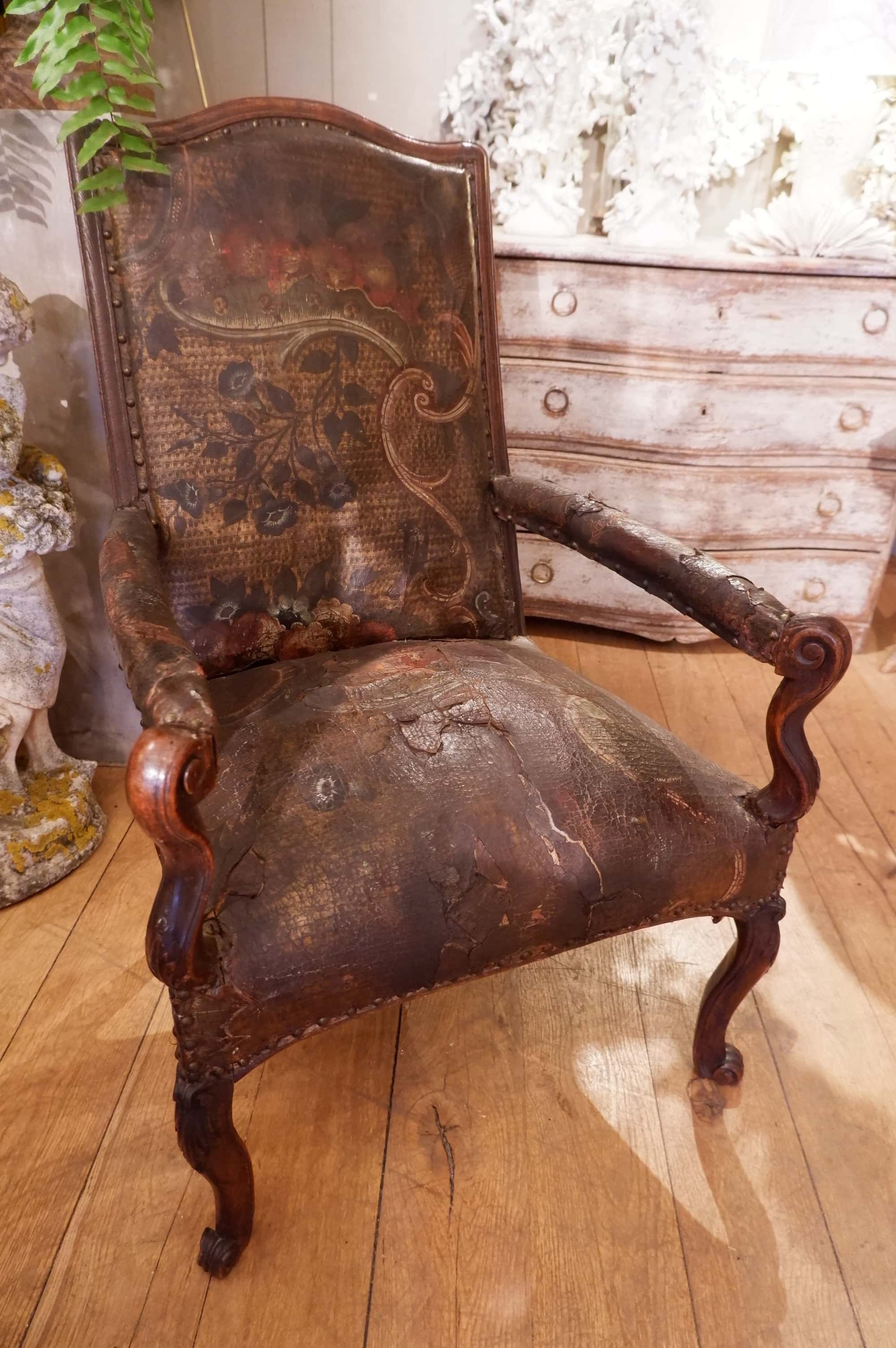 French Regency period tall armchair, covered with cordoba leather ca.1715