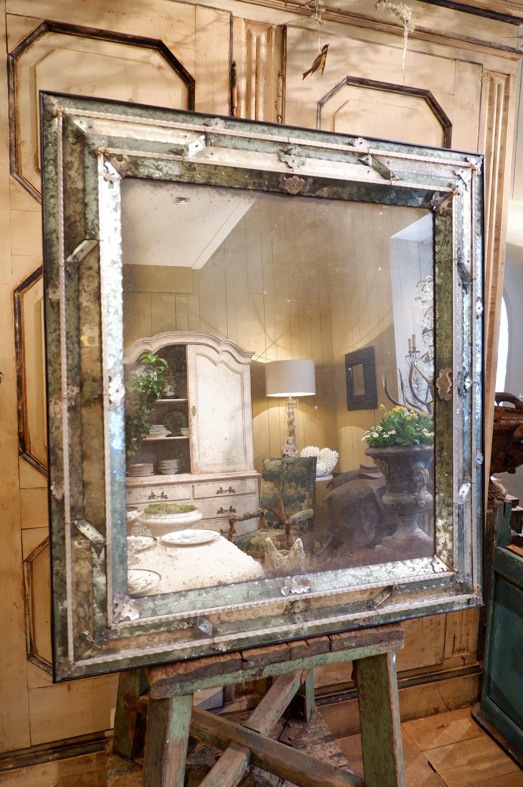Grand miroir vénitien rectangulaire fin du XIXe