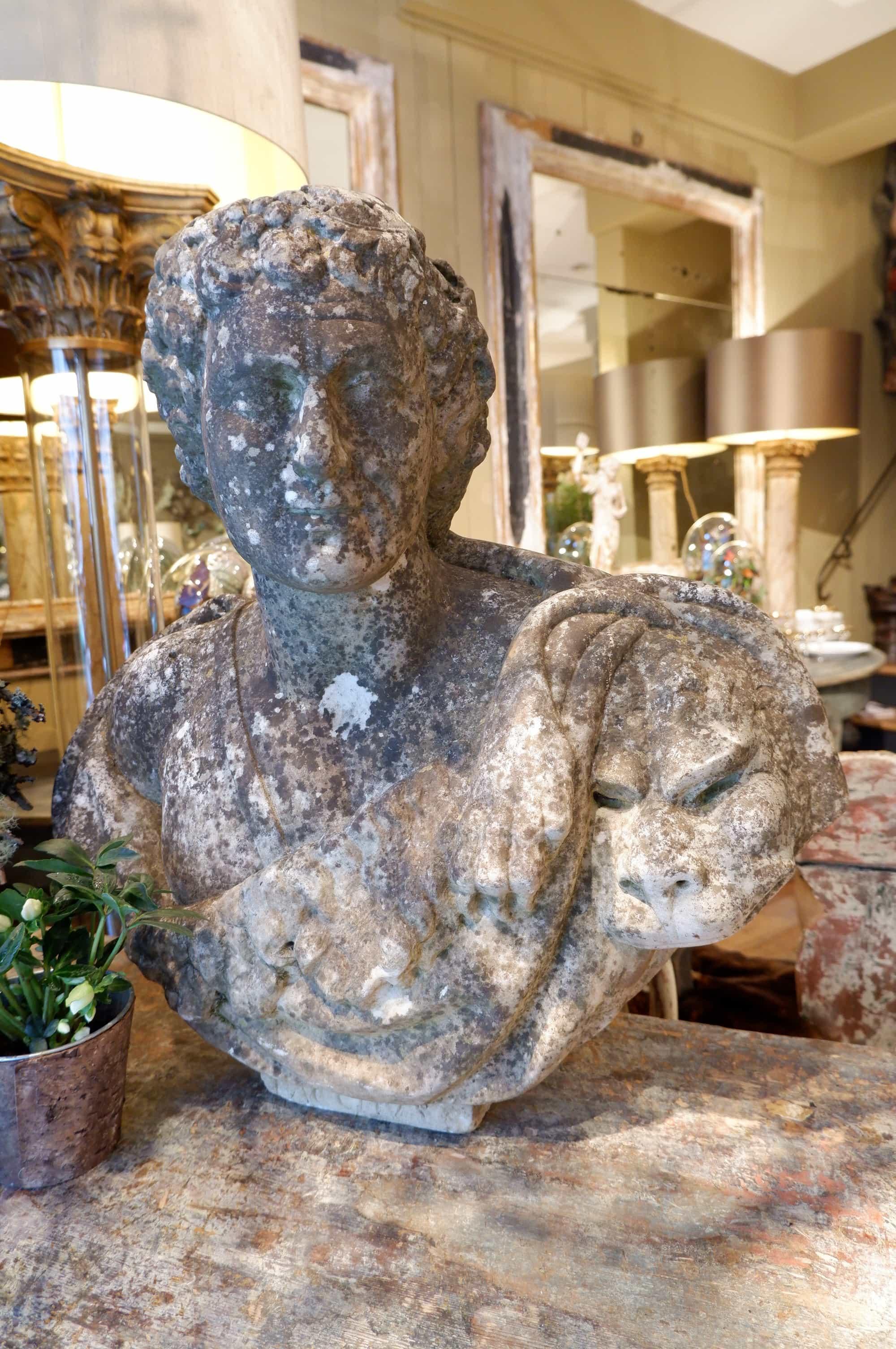 Buste en marbre de carrare sculpté XVIIe – Bacchus
