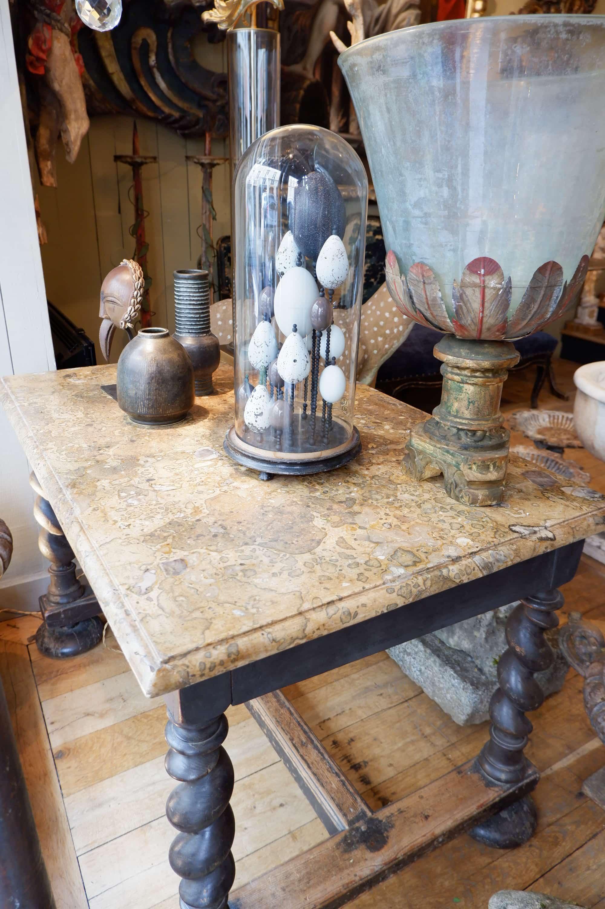Table de chasse Toscane style baroque – plateau marbre ocre ca.1800
