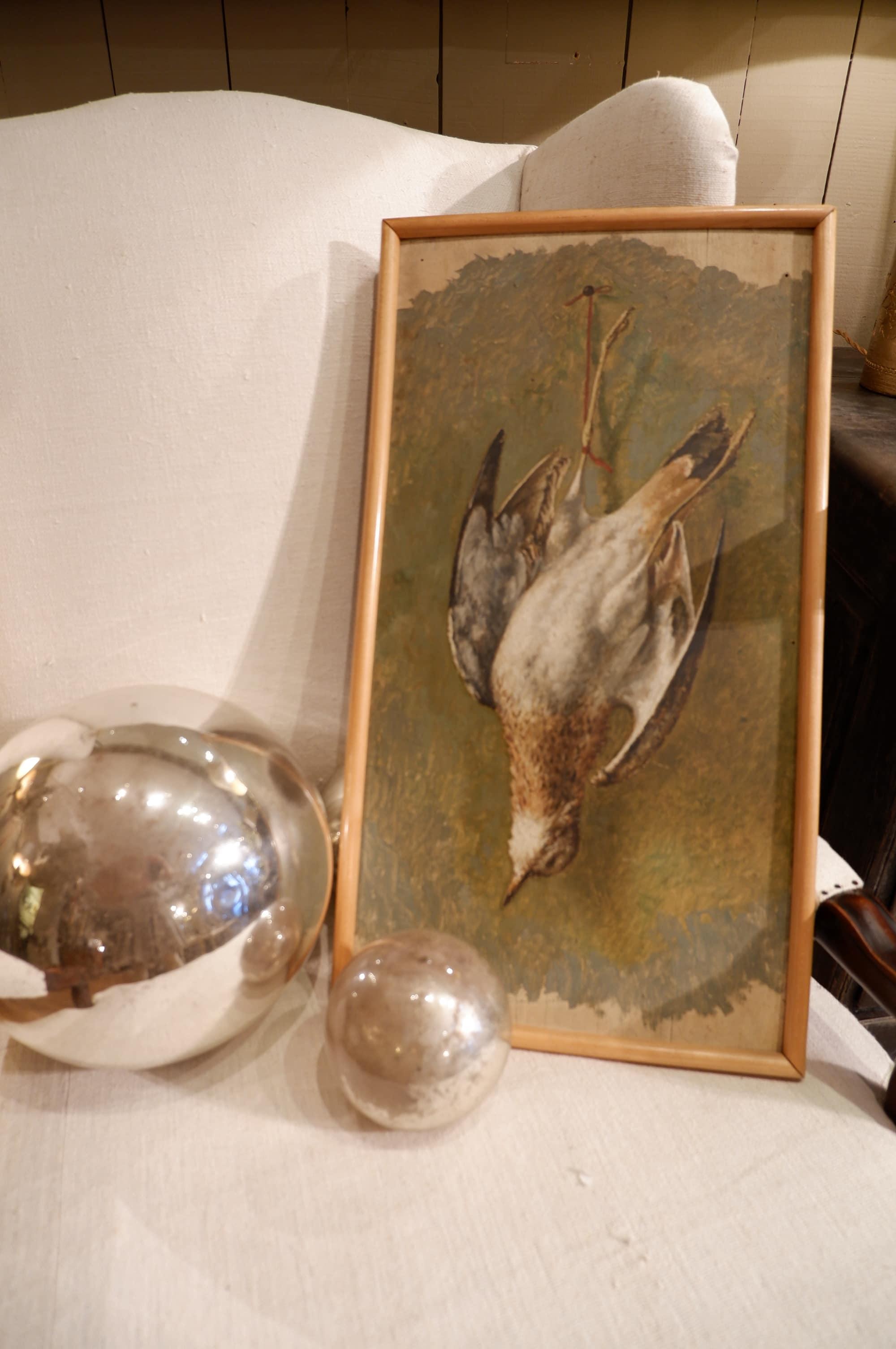 """Nature morte """"oiseau"""" peint sur panneau bois ca.1900"""