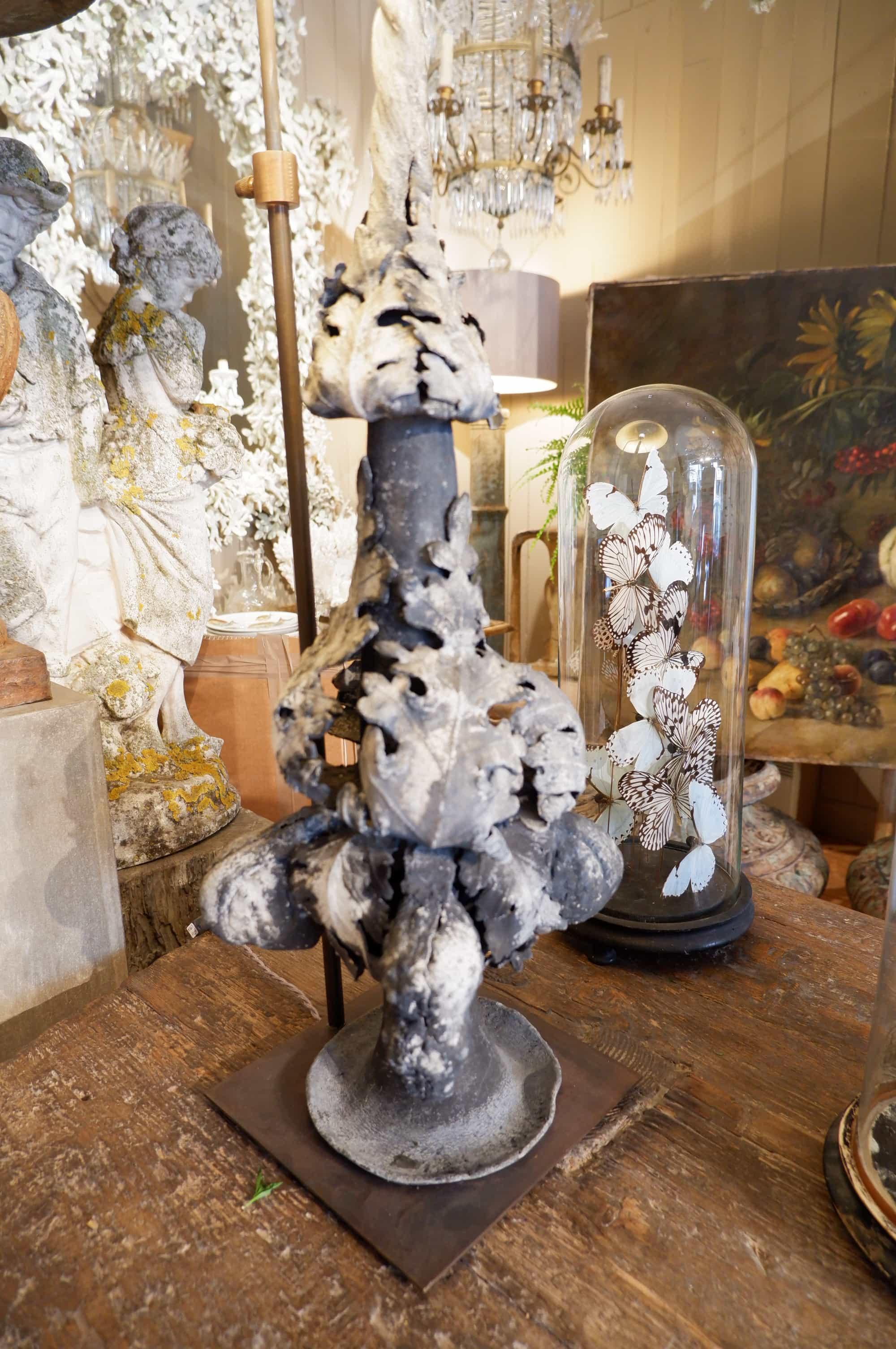 Grande lampe épi de faitage en plomb d'époque XVIIIE + AJ en soie