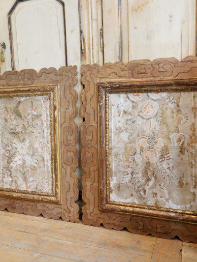 """Paire d'encadrements """"papier-peints"""" période baroque suédoise"""