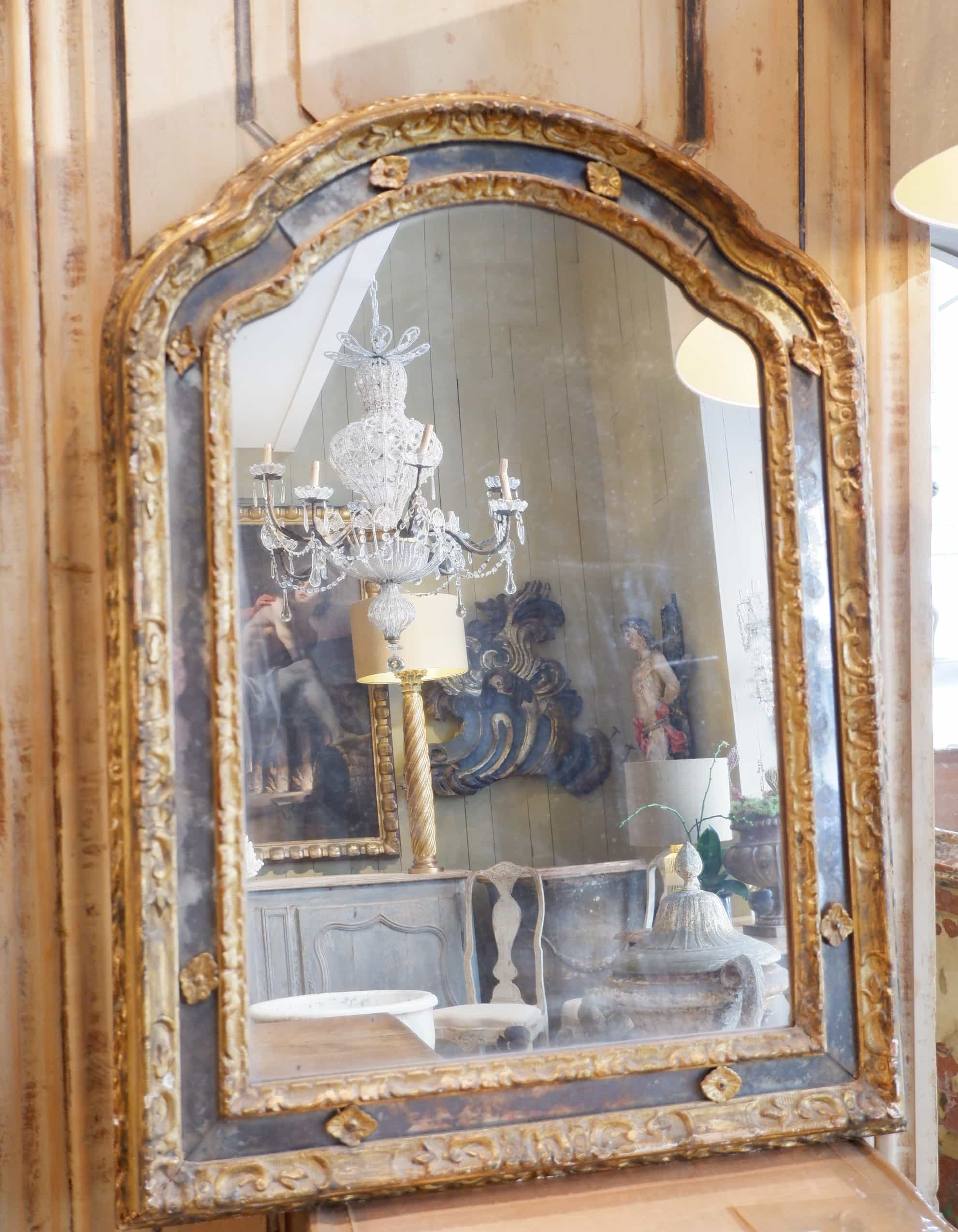 Grand miroir baroque à parclose suédois ca.1800
