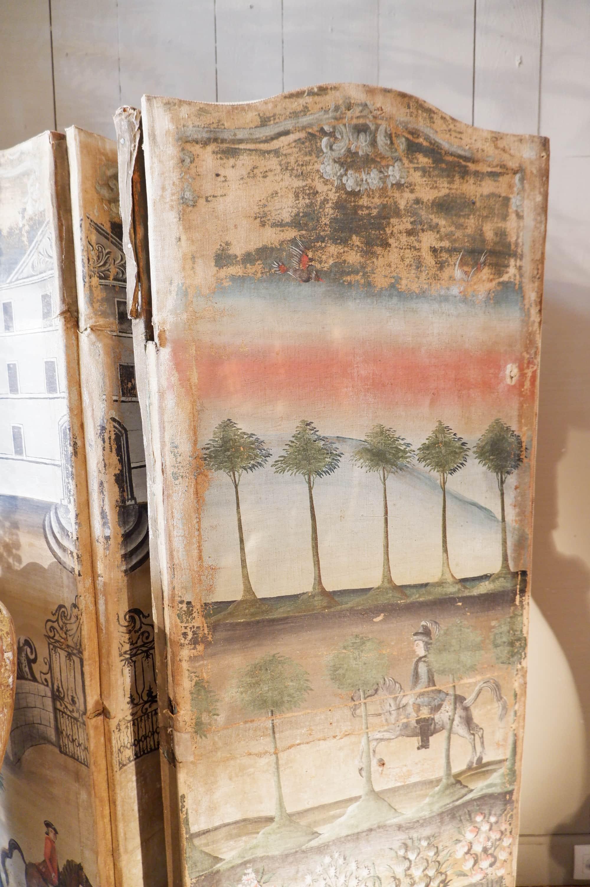 Paravent à 5 feuilles toile peinte XVIIIe double face – période Régence
