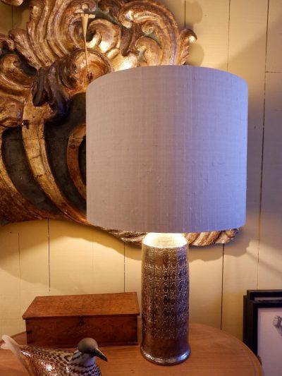 Paire de lampes en céramique décor incisé & émail fintion platine ca.1960