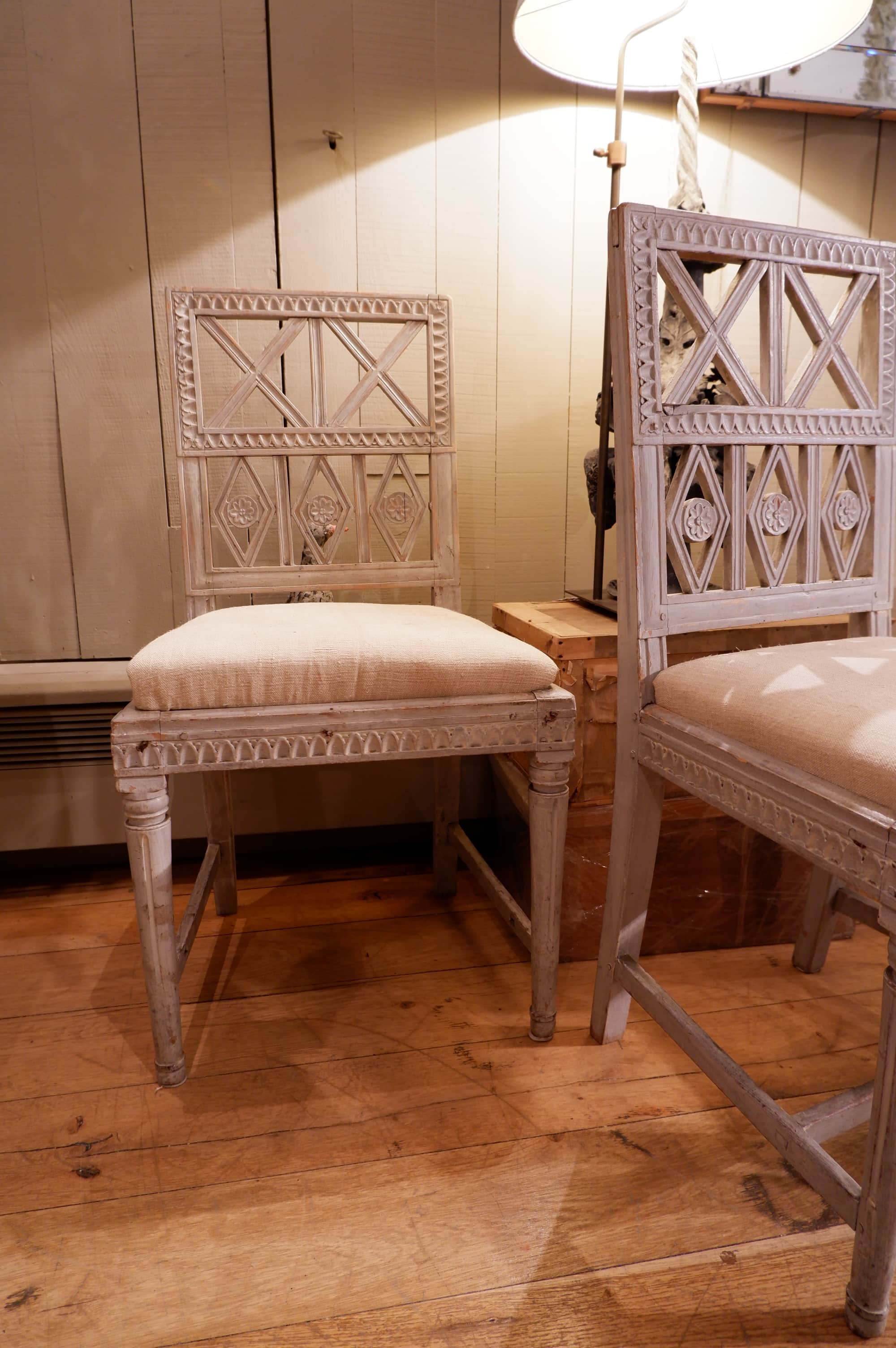 Pair of Gustavian side chairs with pale blue patina ca.1850