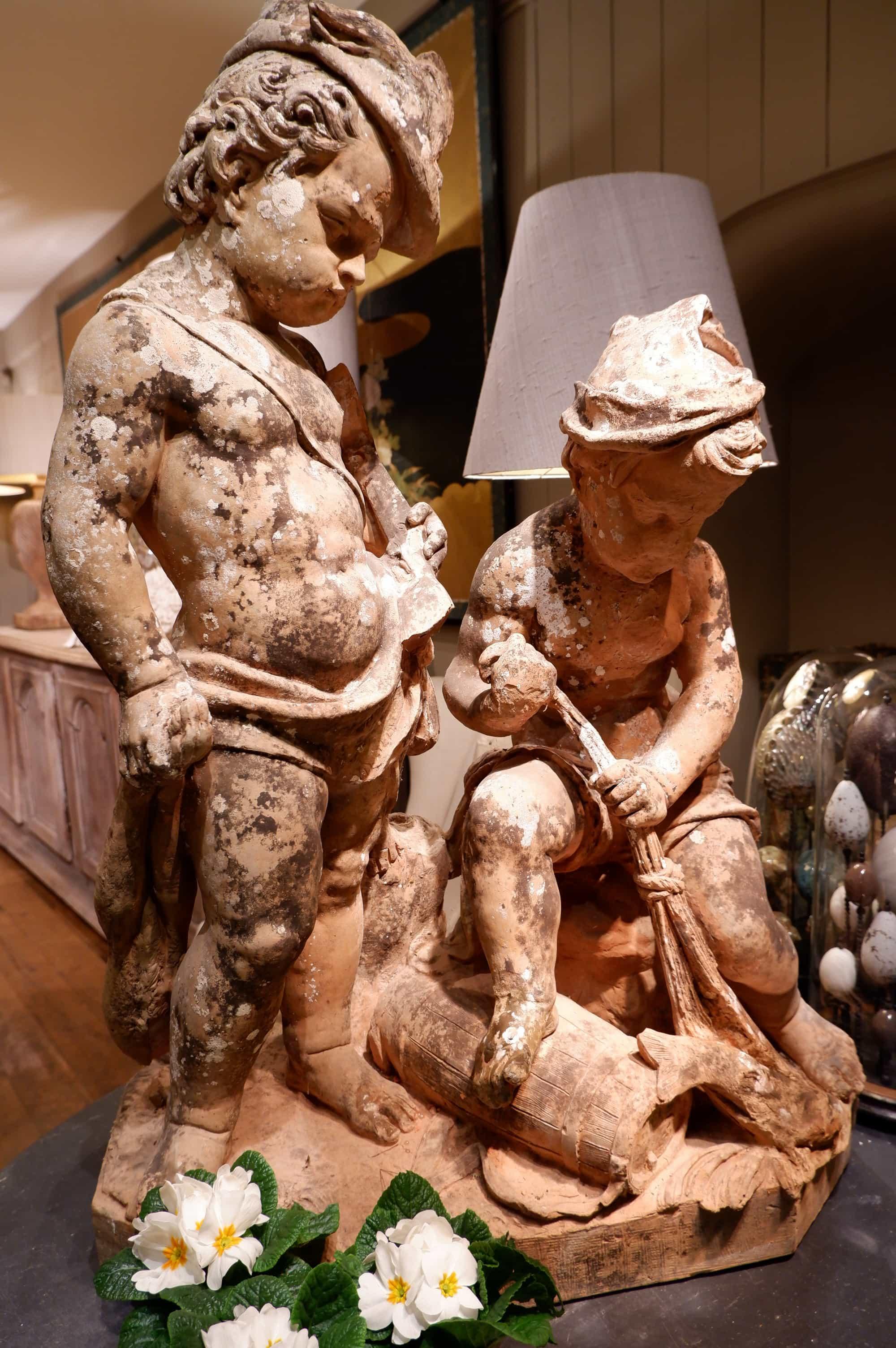 Sculpture en terre cuite des Allégories de la chasse et de la pêche ca.1860