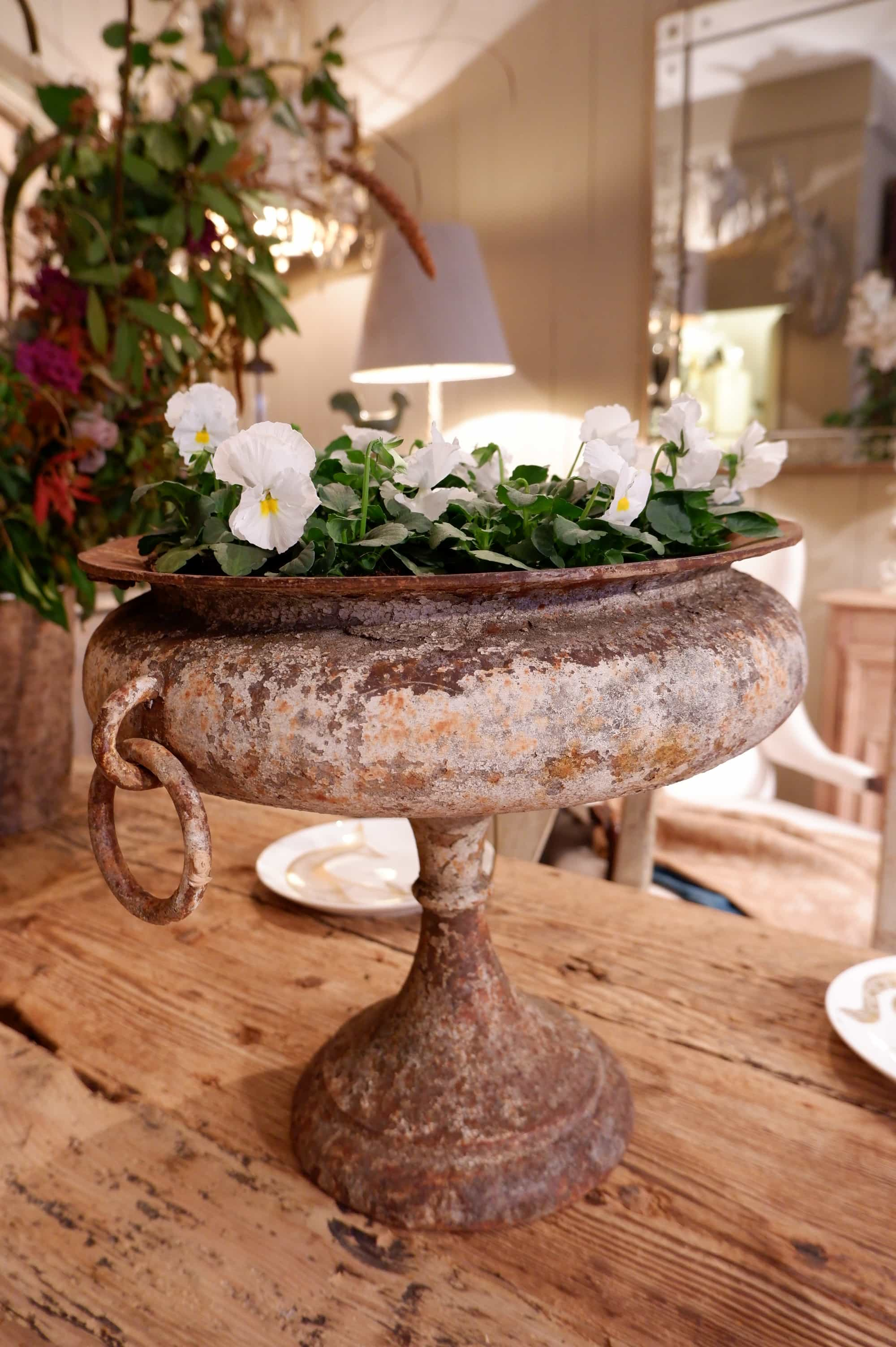 Paire de vasques directoire sur pied – en fonte blanche & anses à anneaux ca.1790