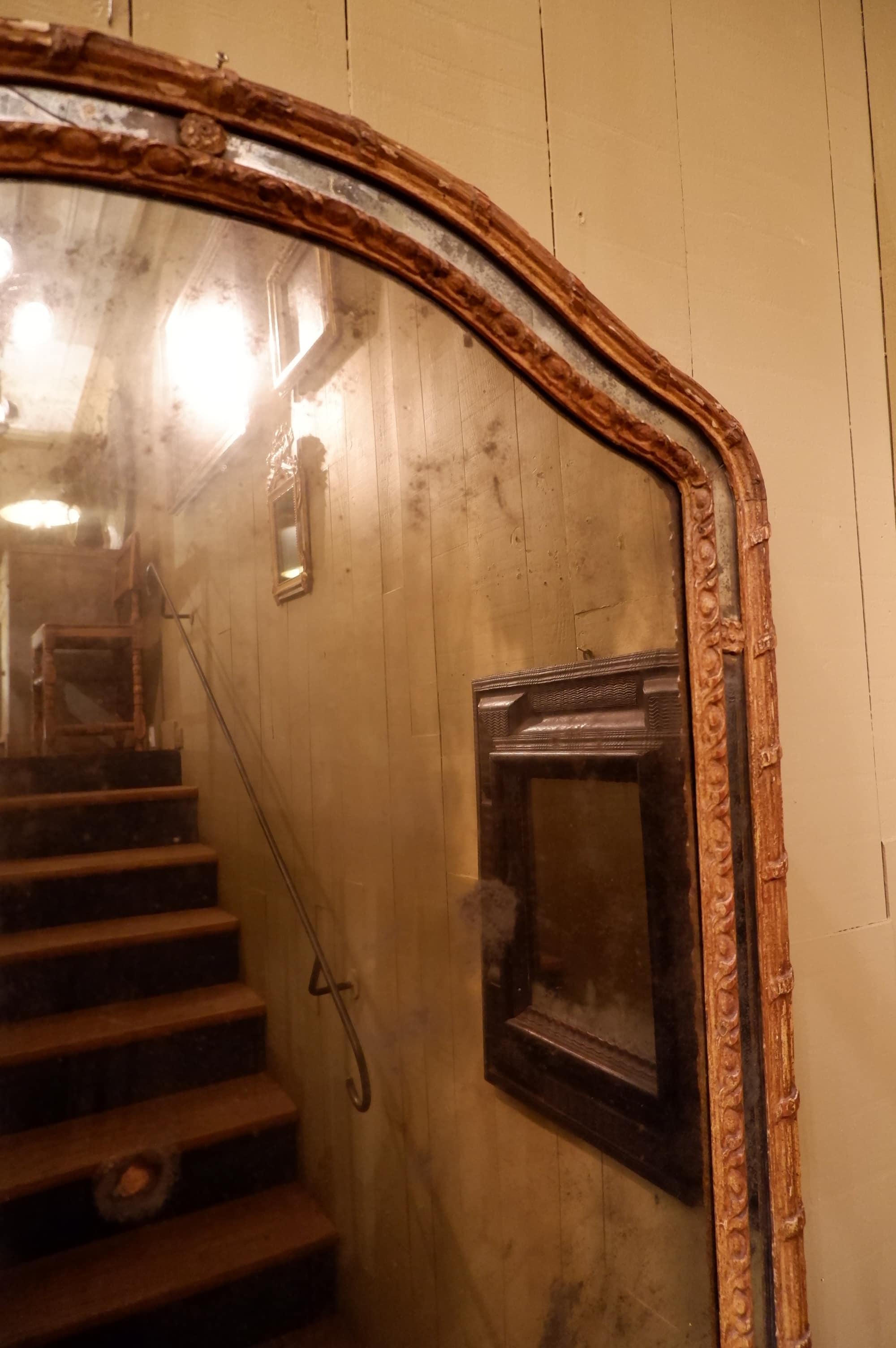 Miroir à parecloses baroque italien glace au mercure fin XVIIe