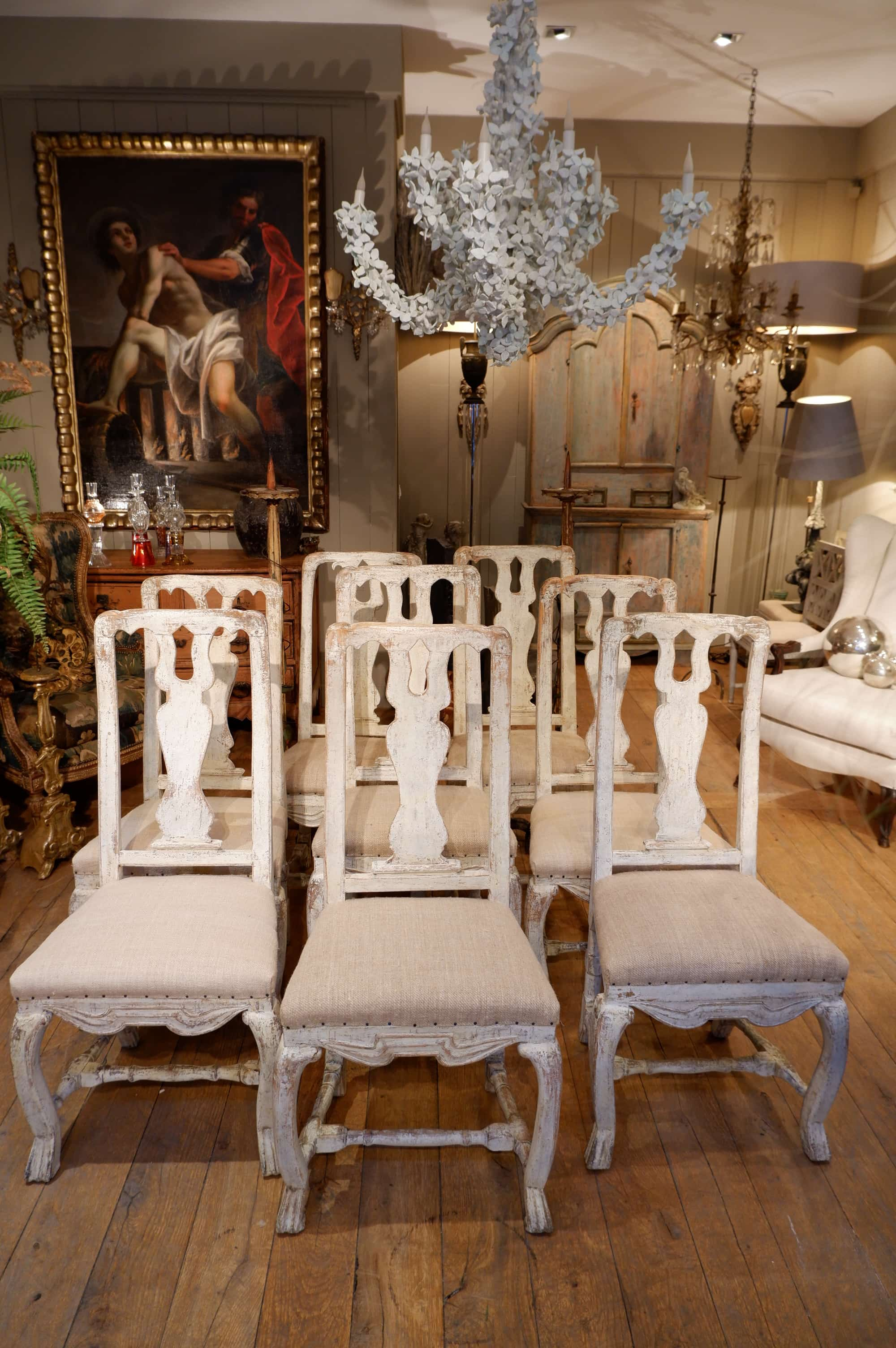 Set of 12 Swedish chairs Roccoco with off-white patina ca.1800