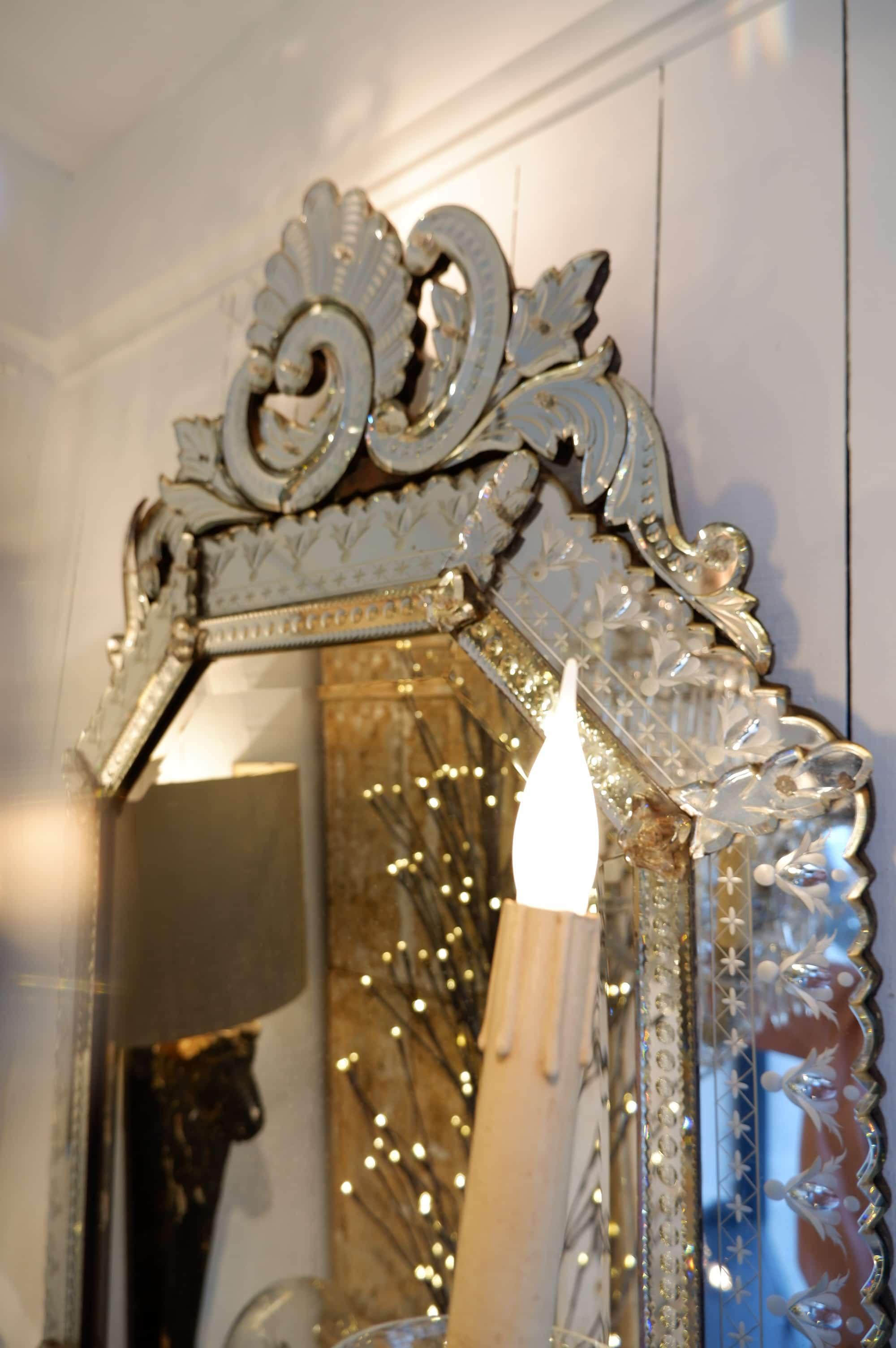 Grand miroir de murano en verre fin XIXe ca.1890