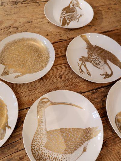 """Série d'assiettes """"espèces protégées"""" par Paul Hoff pour Gustavsberg ca.1975"""
