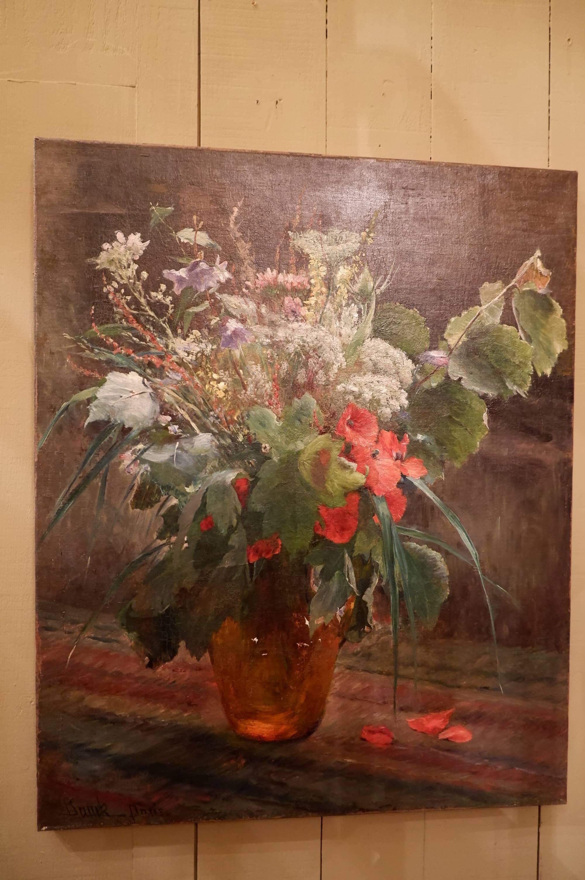 """Huile sur toile """"bouquet de fleurs des champs"""" ca.1881"""