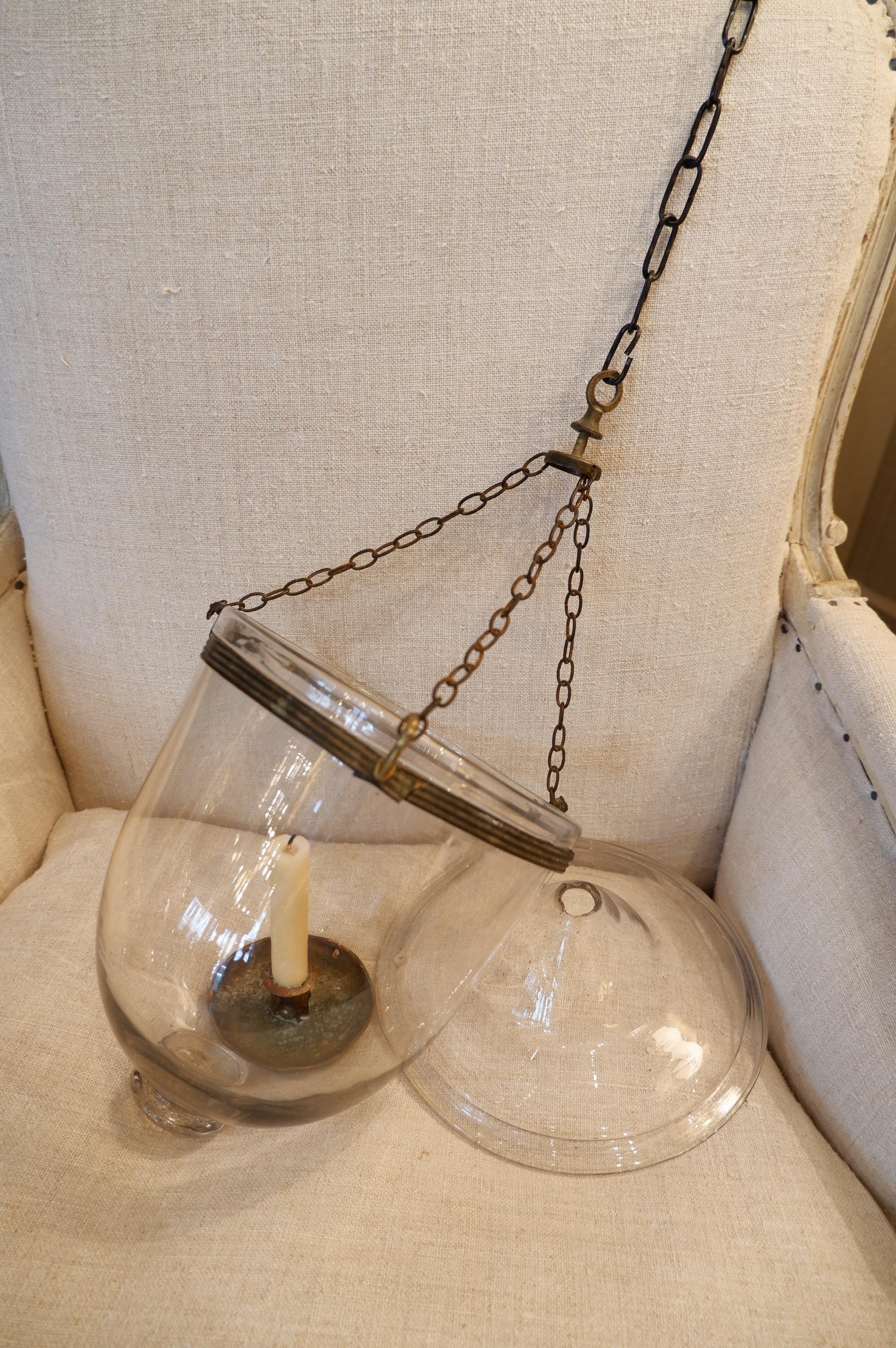 Suspension directoire cloche en verre pour bougie avec couvercle
