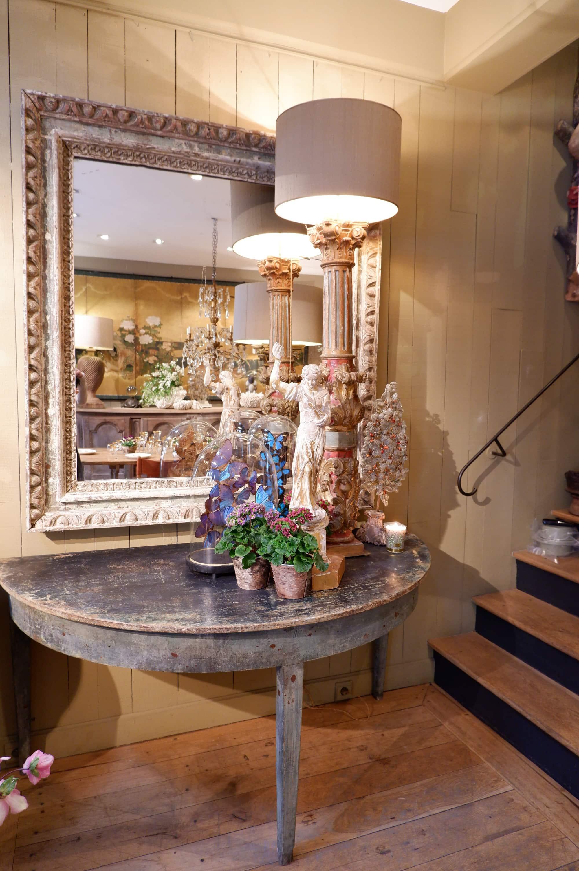 Grand miroir cadre en bois sculpté patine turquoise – fin XVIIIe