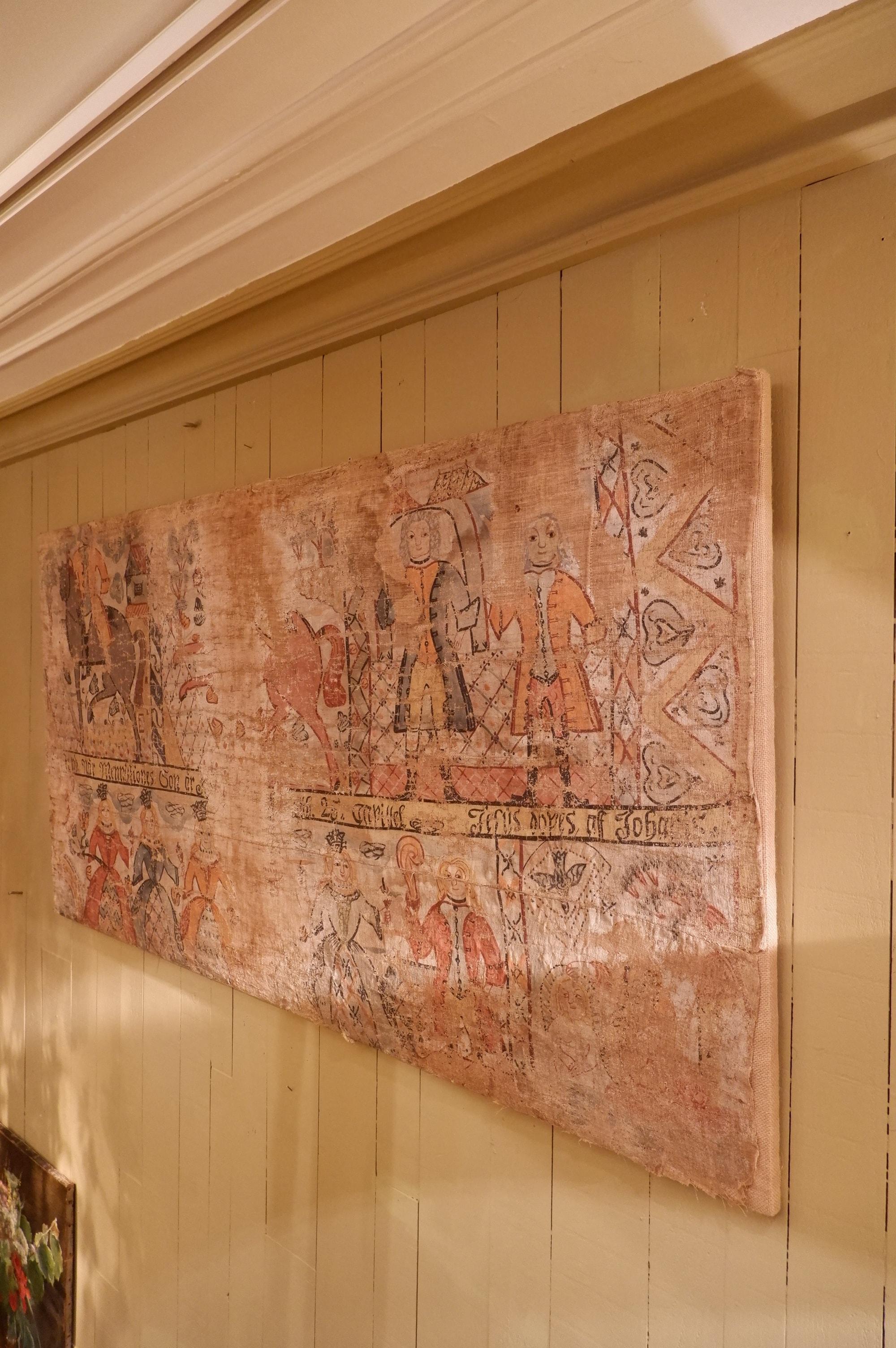 Large panneau textile Suédois peint – Art populaire XVIIIe
