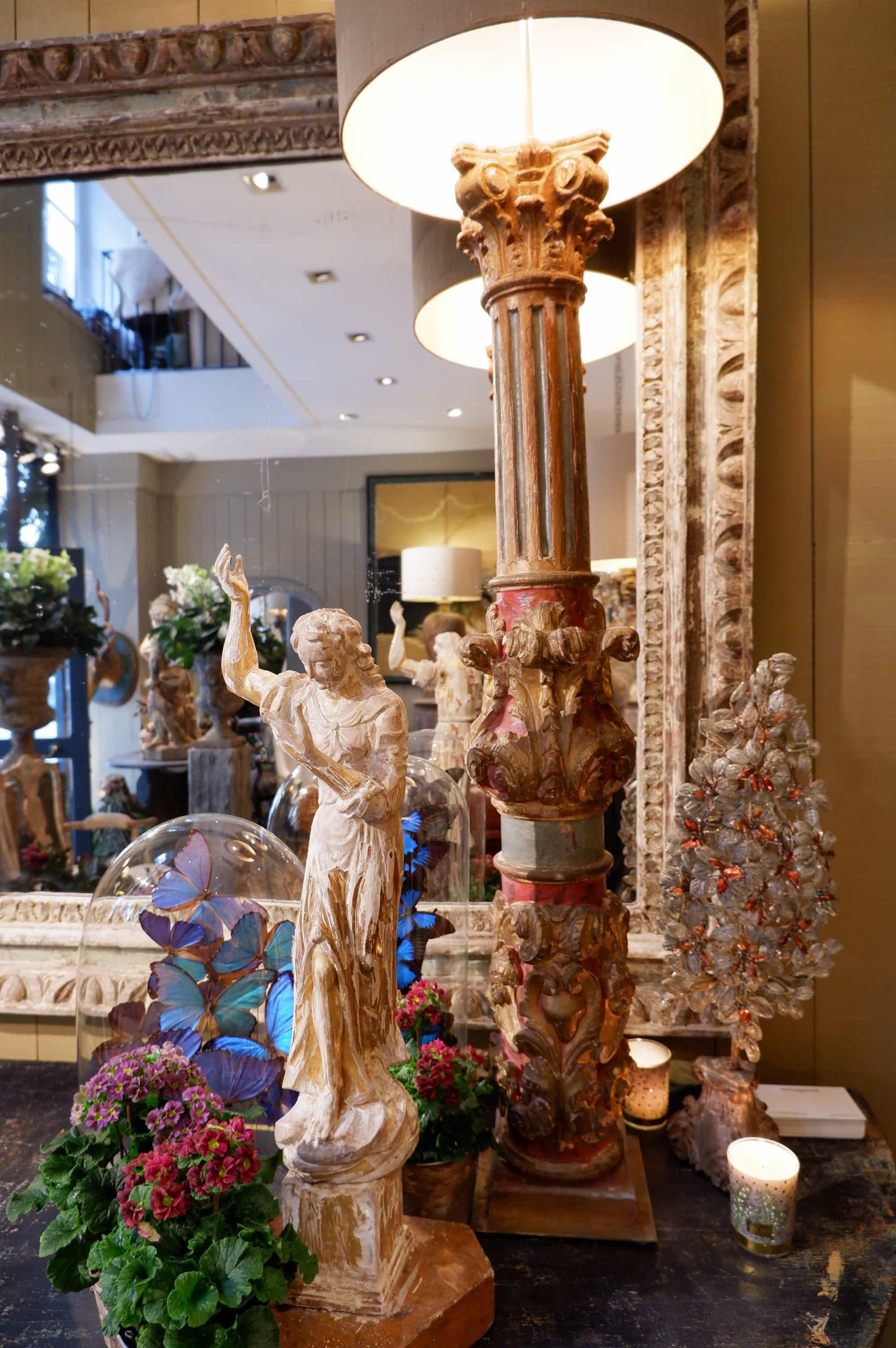 Paire de grandes lampes colonnes baroques polychrome + AJ soie