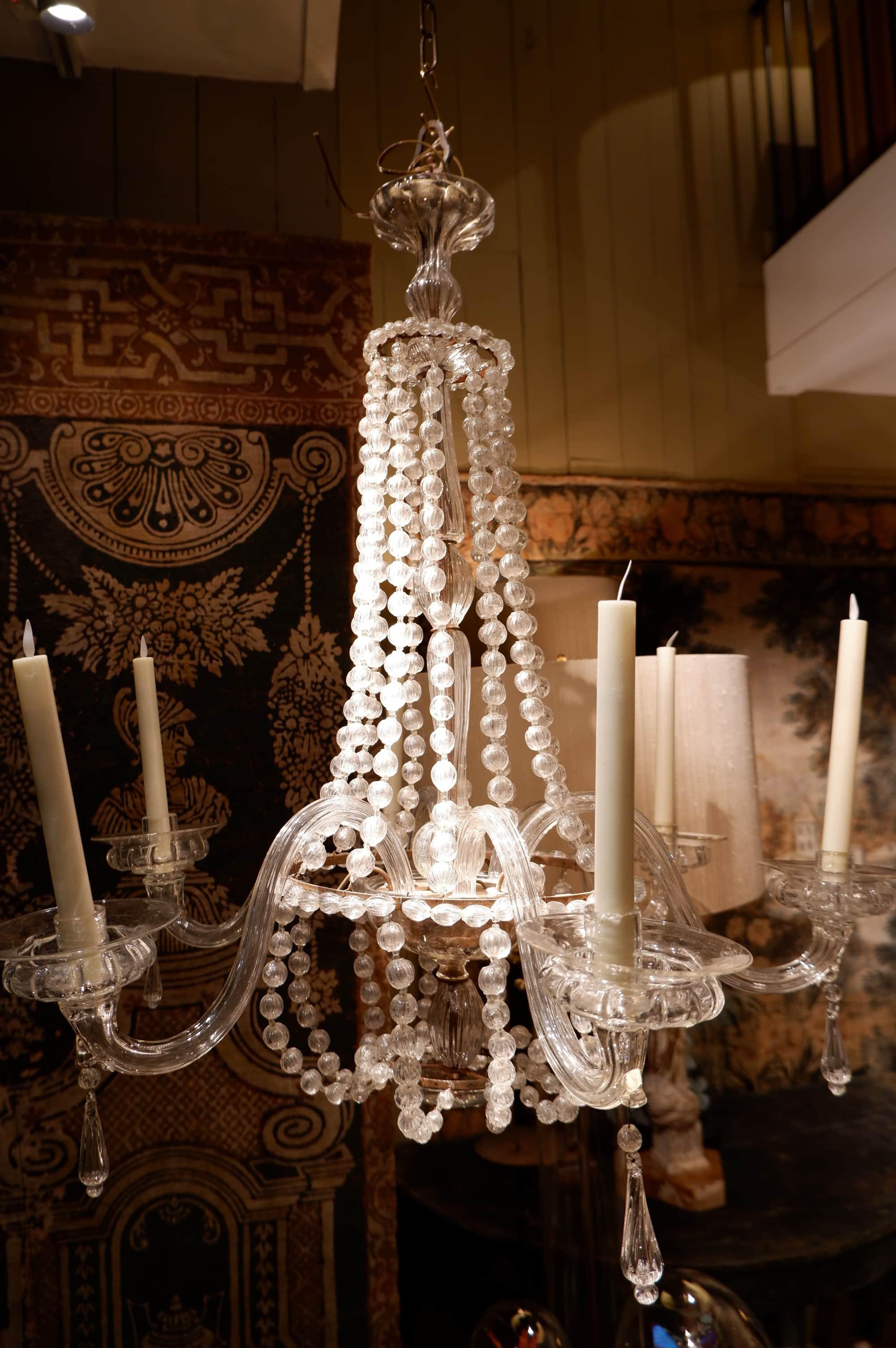 Chandelier en verre de Murano transparent fin XIXe